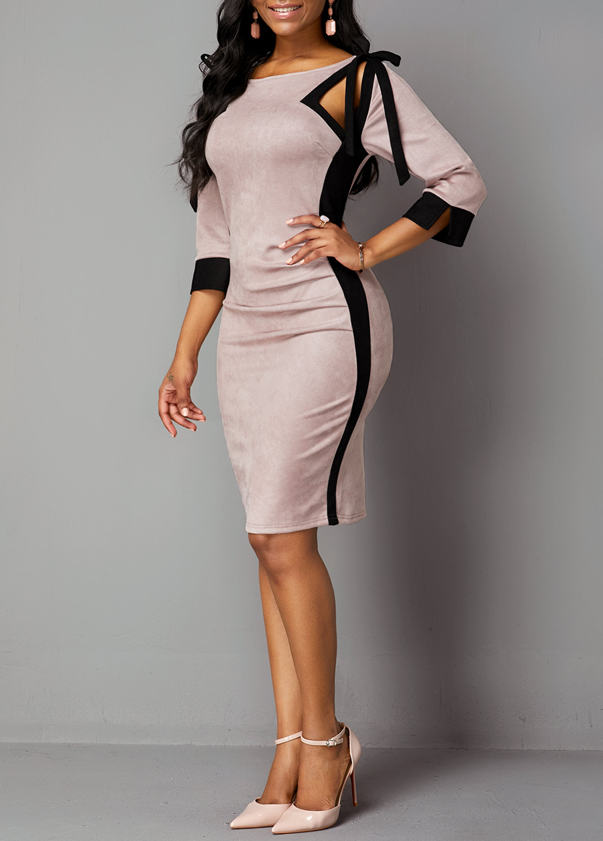 Tie Shoulder Three Quarter Sleeve Back Zipper Dress
