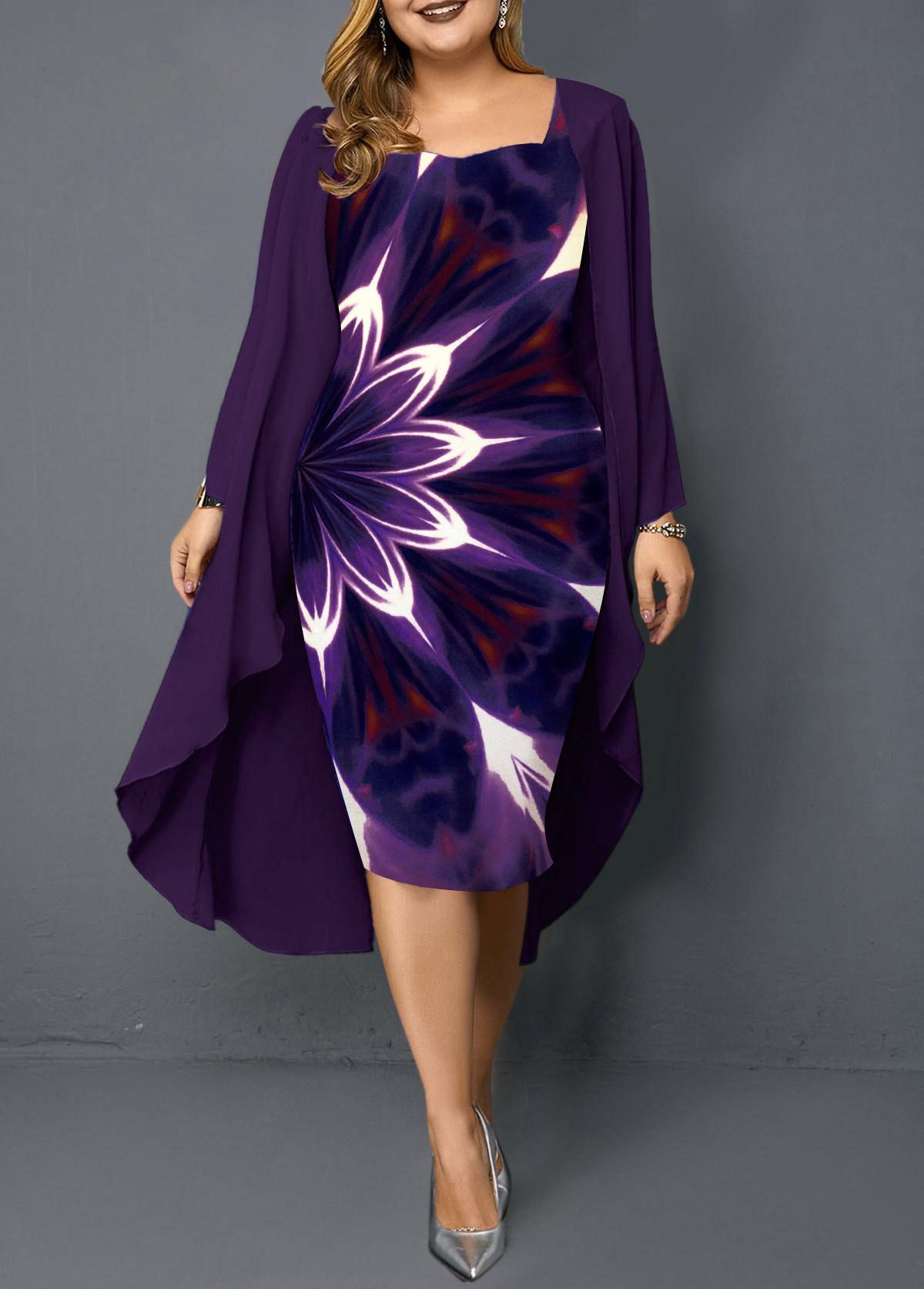 Purple Plus Size Chiffon Cardigan and Printed Dress