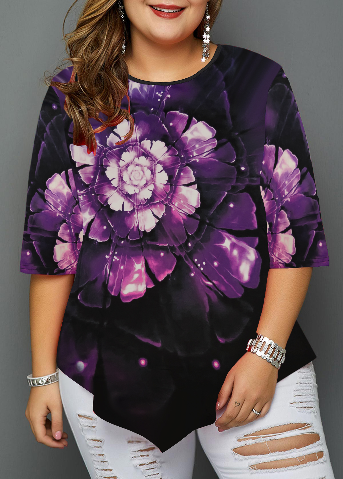 Asymmetric Hem Flower Print Plus Size Blouse