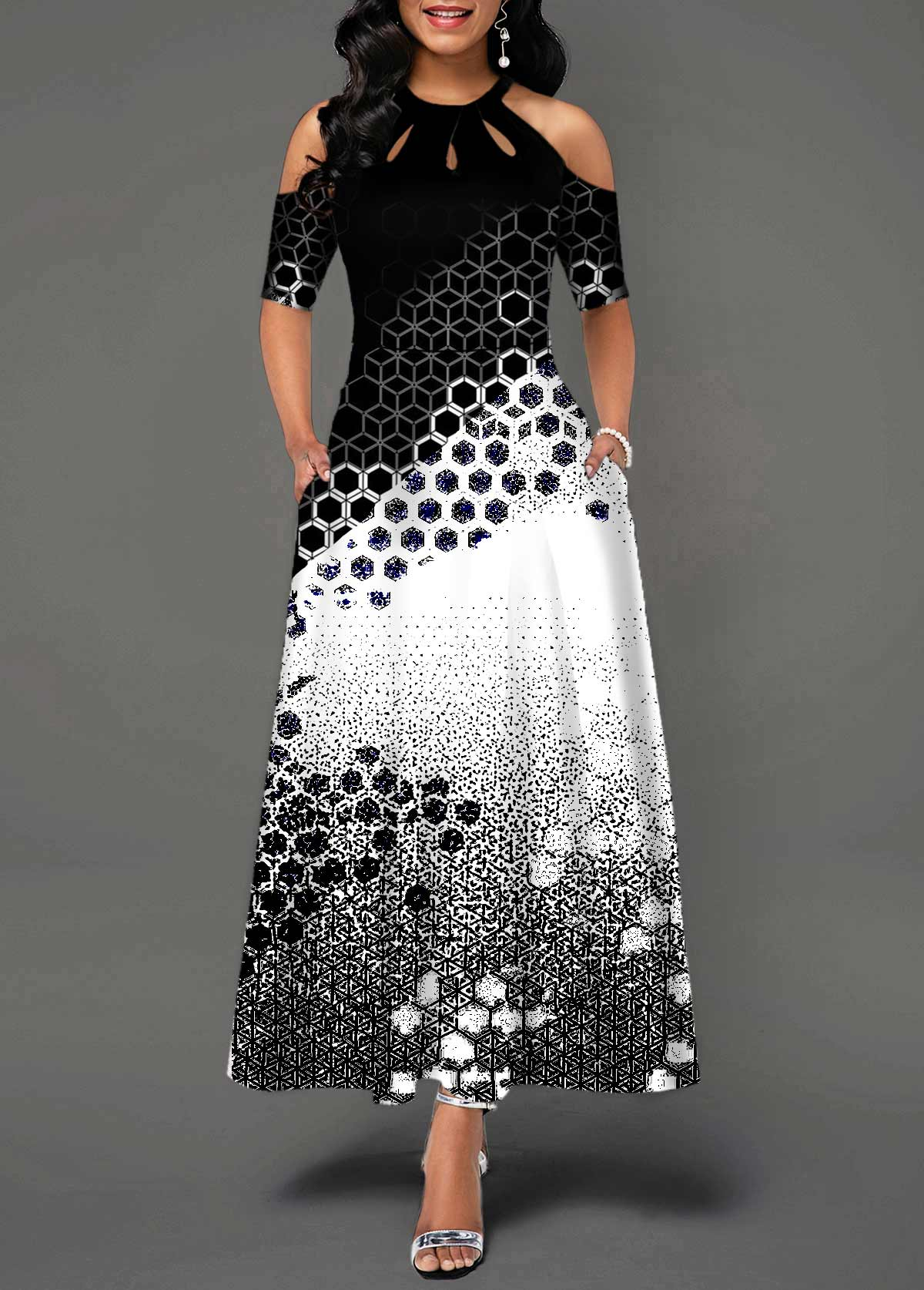 Bib Neck Geometric Print Cold Shoulder Maxi Dress