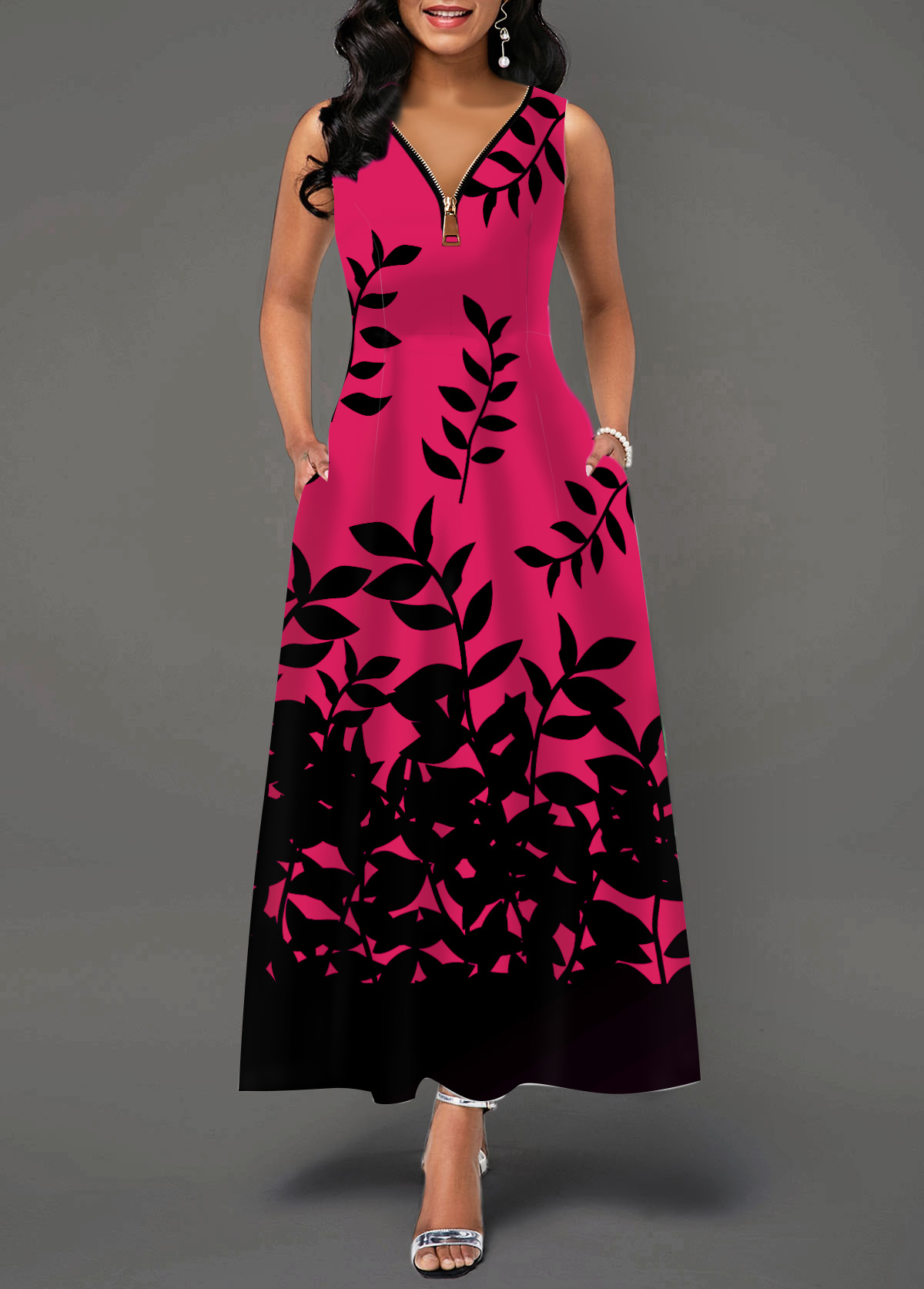 Sleeveless Leaf Print Zipper Detail Maxi Dress