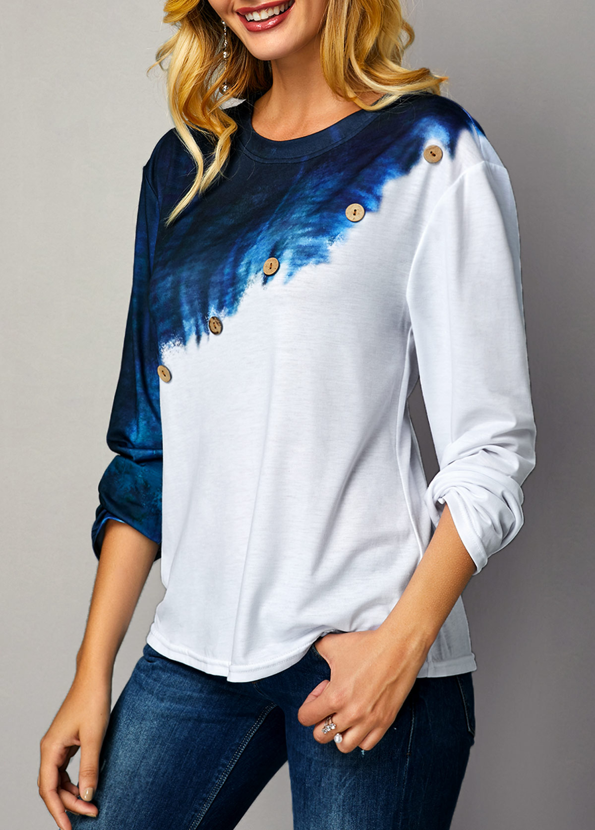 Color Block Long Sleeve Button Detail T Shirt