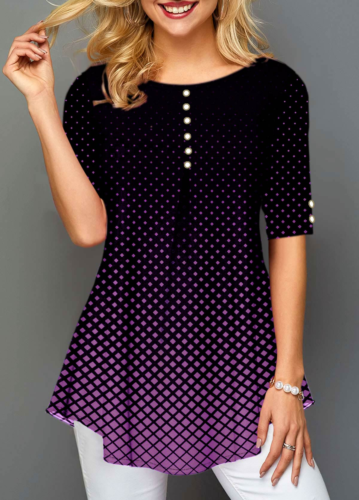 Half Sleeve Polka Dot Print Pearl Embellished Blouse