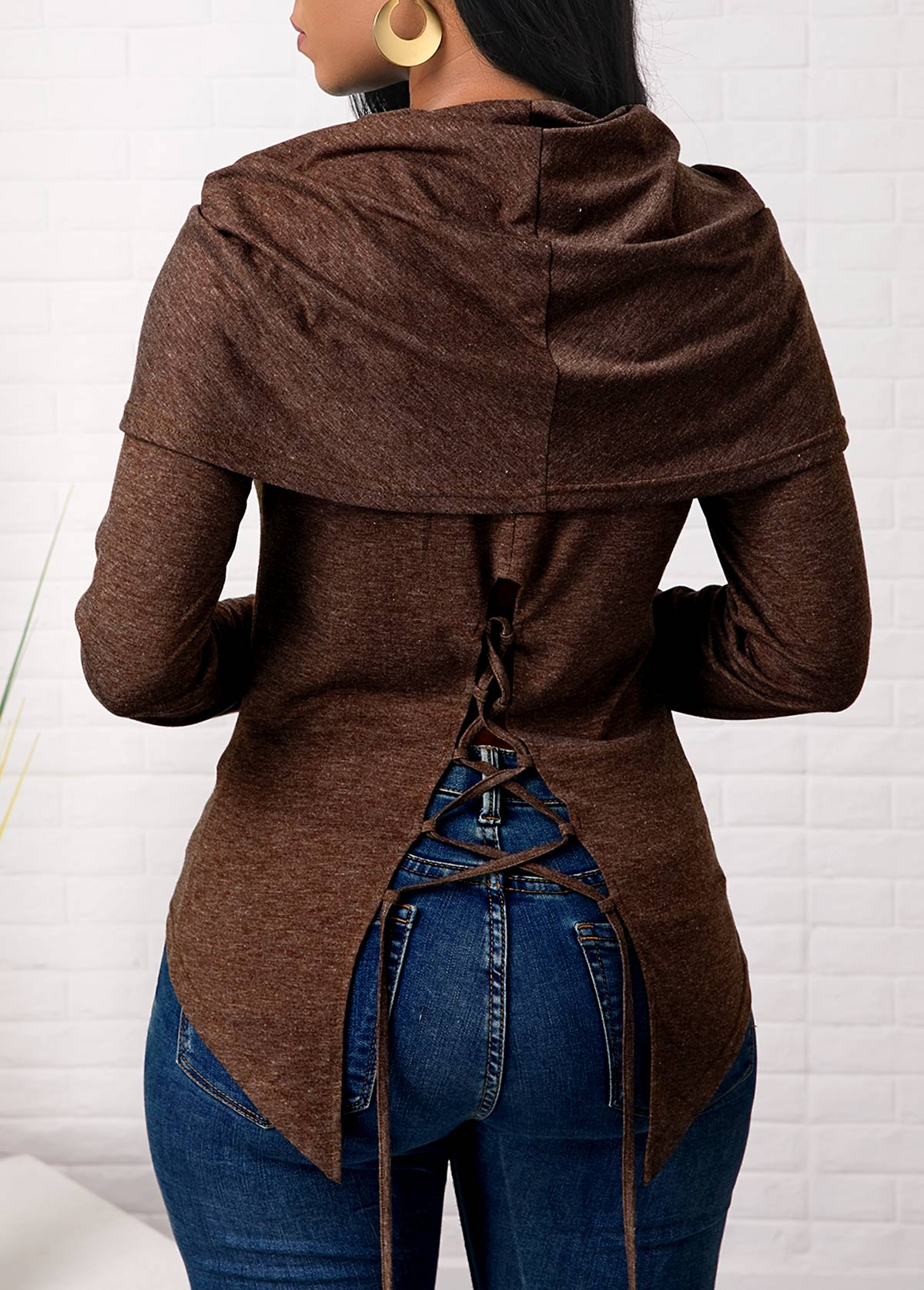 Brown Long Sleeve Lace Up Back Sweatshirt