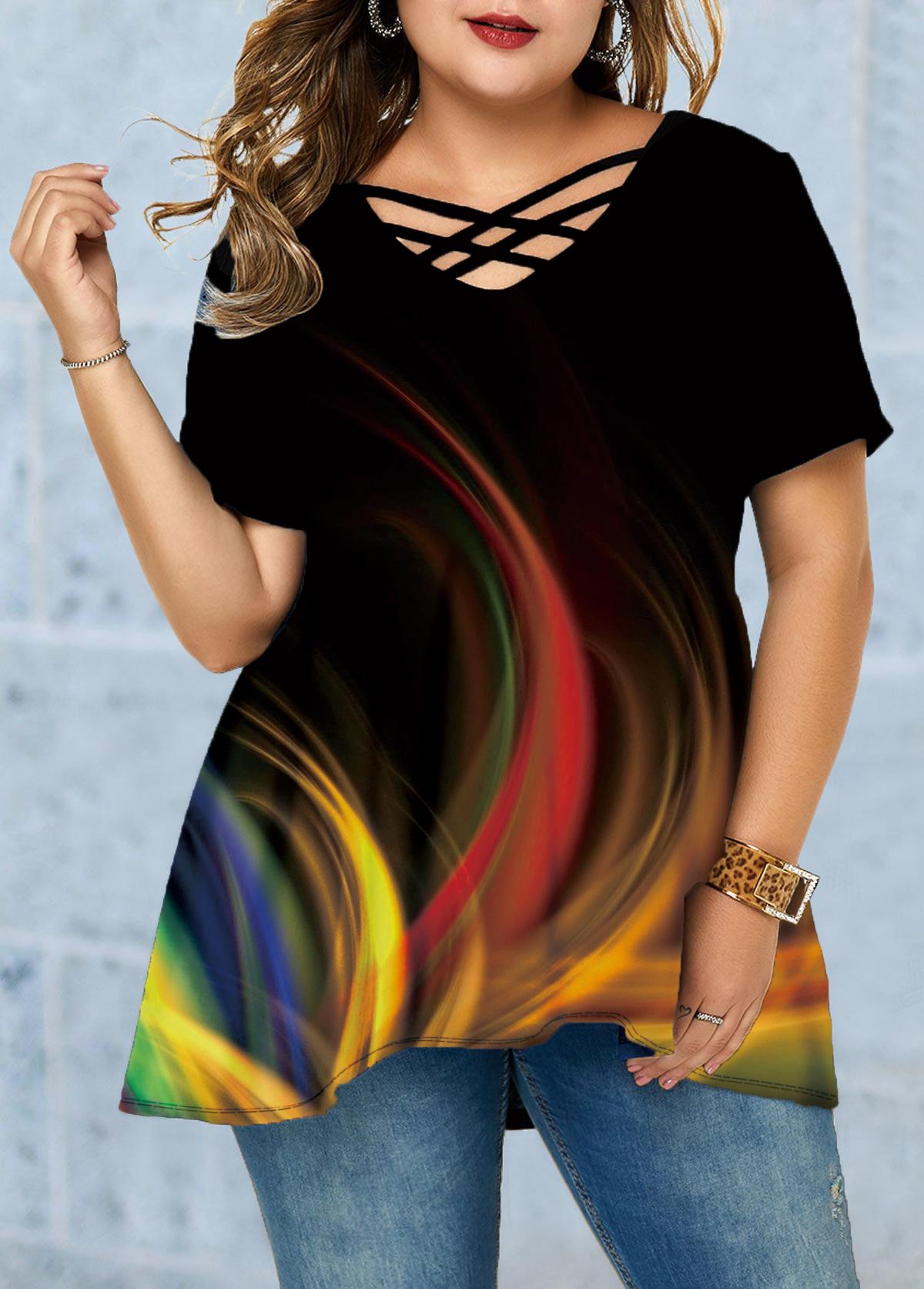 Printed Lattice Front Gradient Plus Size T Shirt