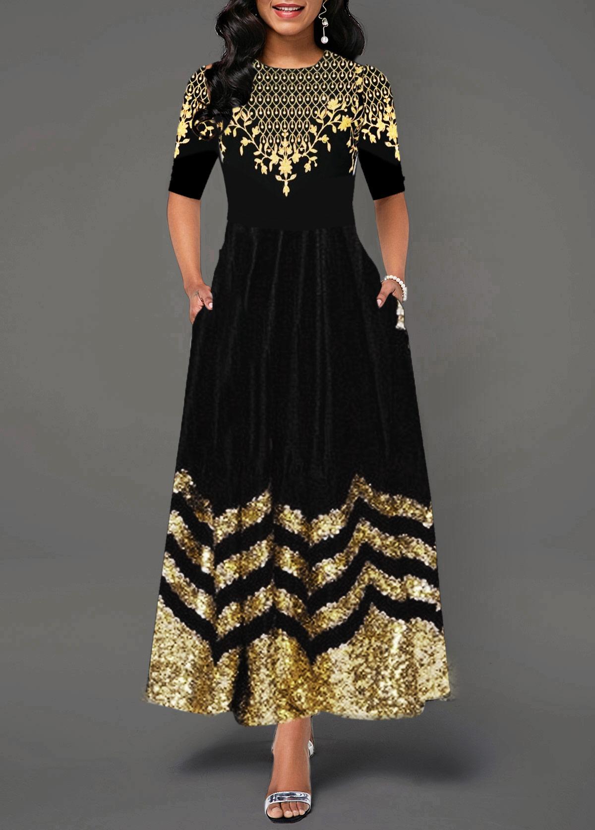 Short Sleeve Round Neck Printed Dress