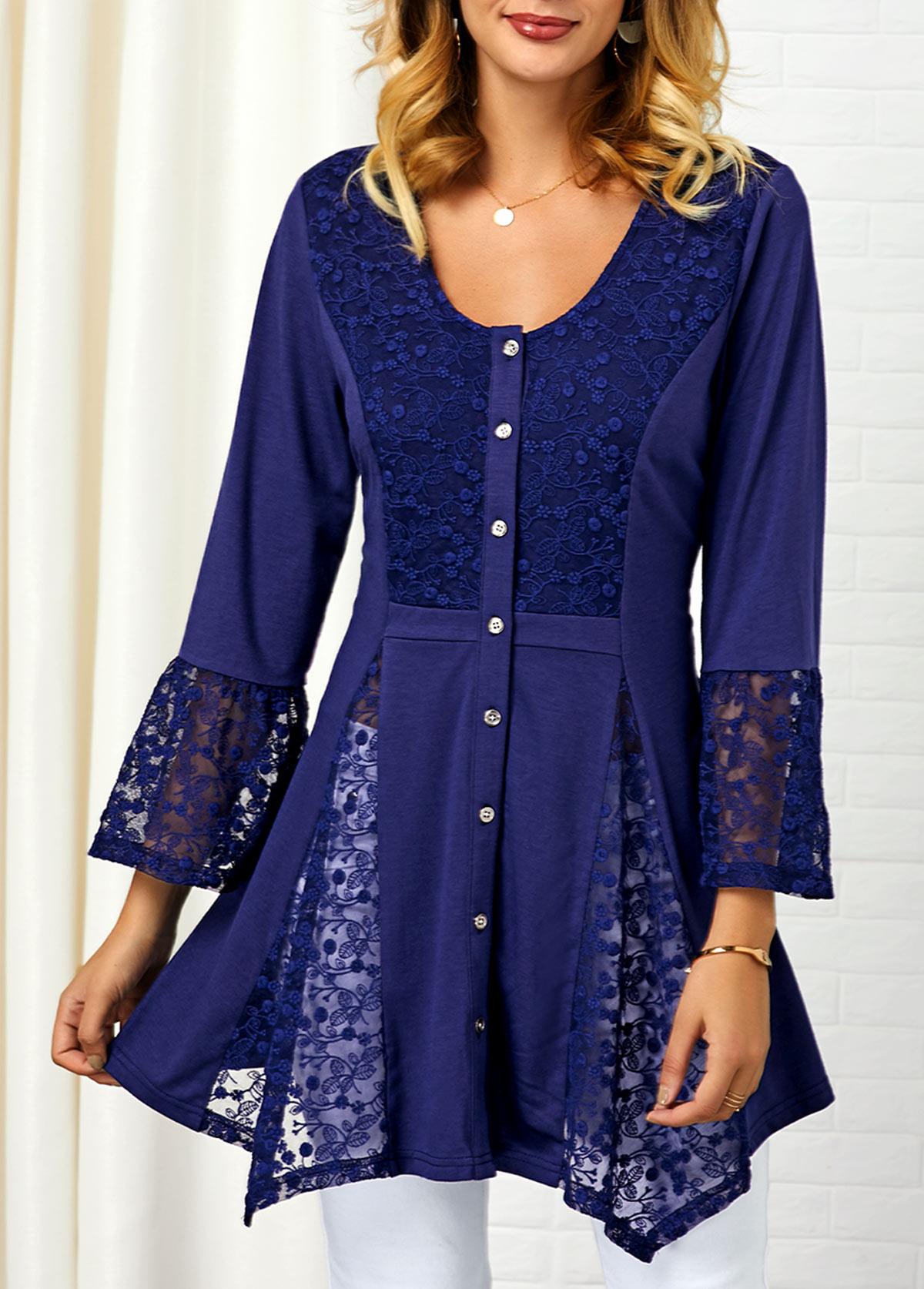 Lace Panel Asymmetric Hem Button Up Shirt