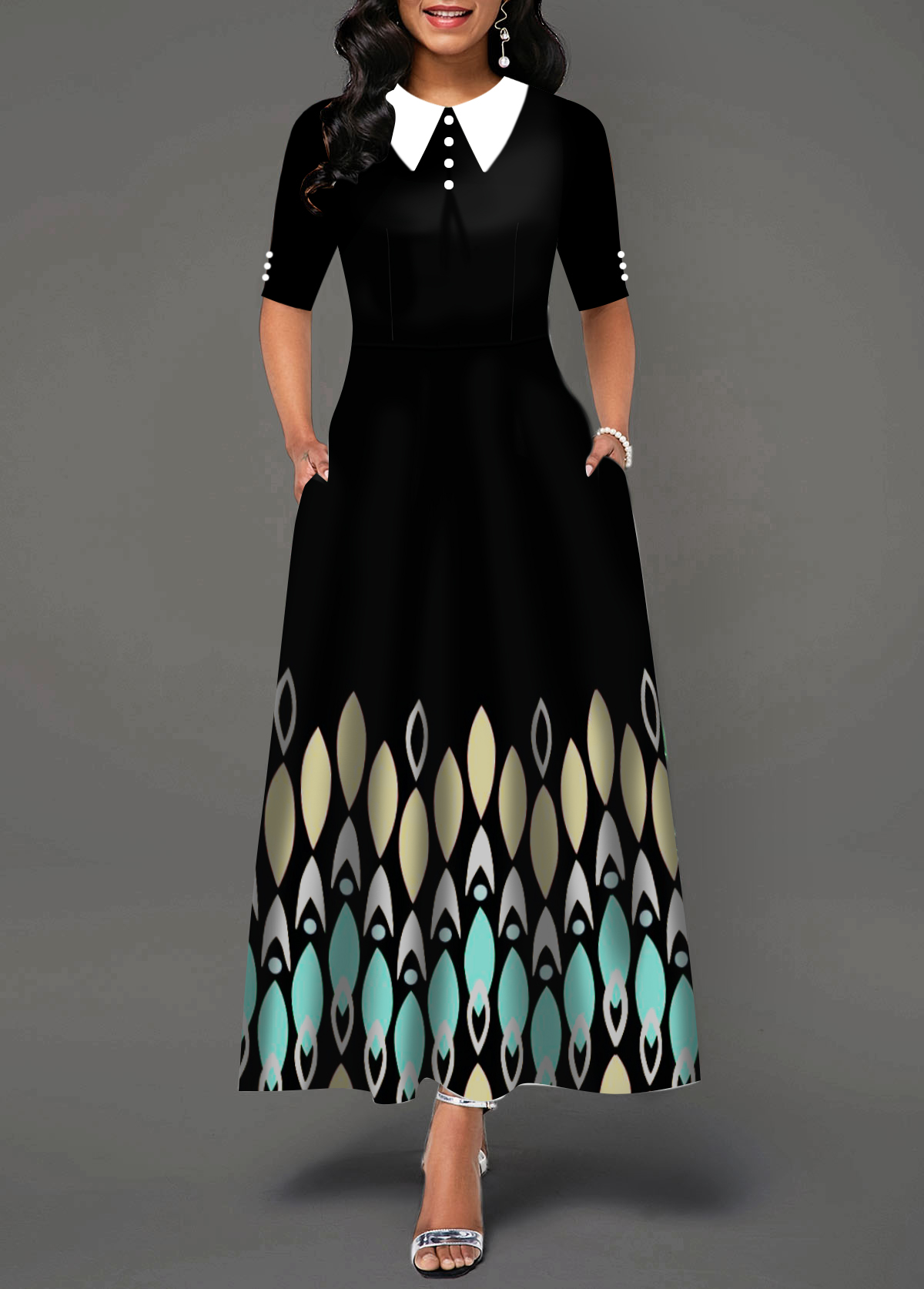 Turndown Collar Back Zipper Printed Maxi Dress