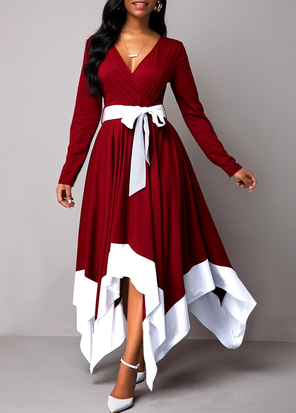 Asymmetric Hem Long Sleeve Belted Maxi Dress