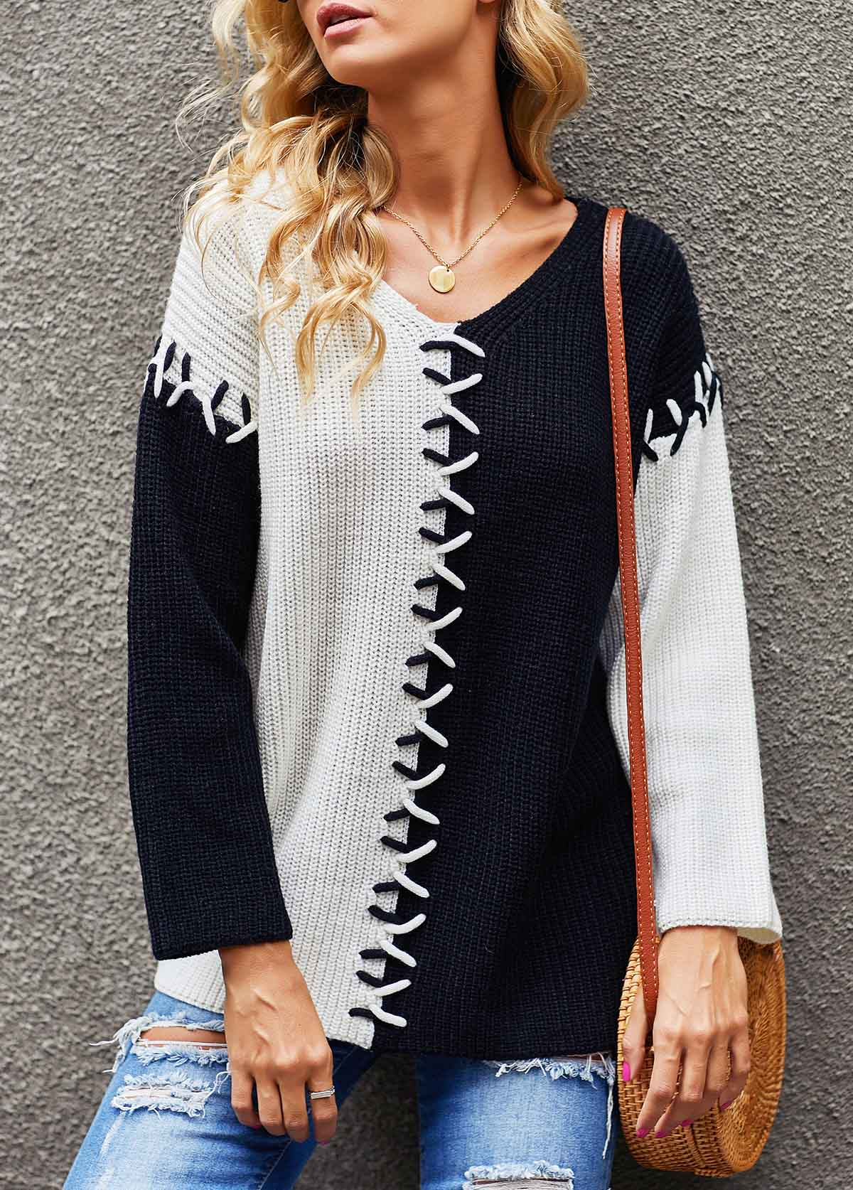 V Neck Color Block Lace Up Sweater