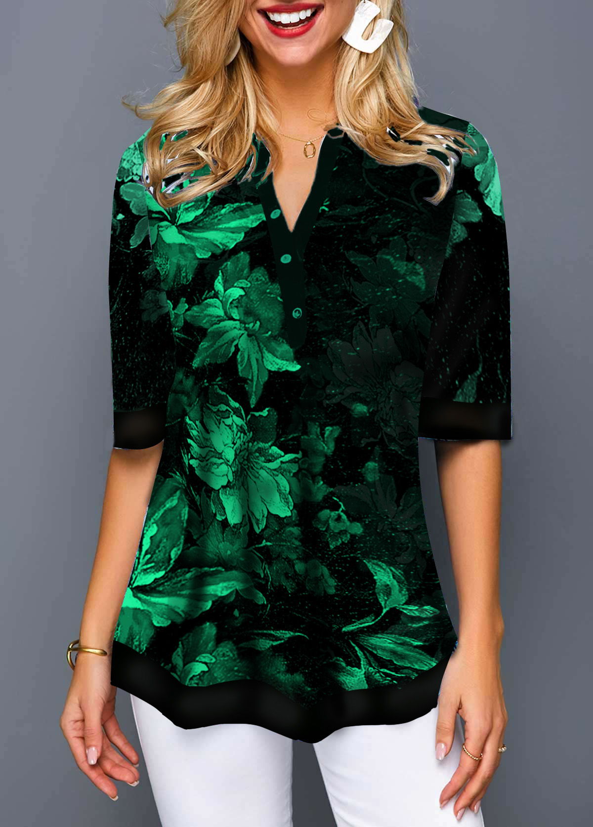 Chiffon Panel Flower Print Button Detail T Shirt