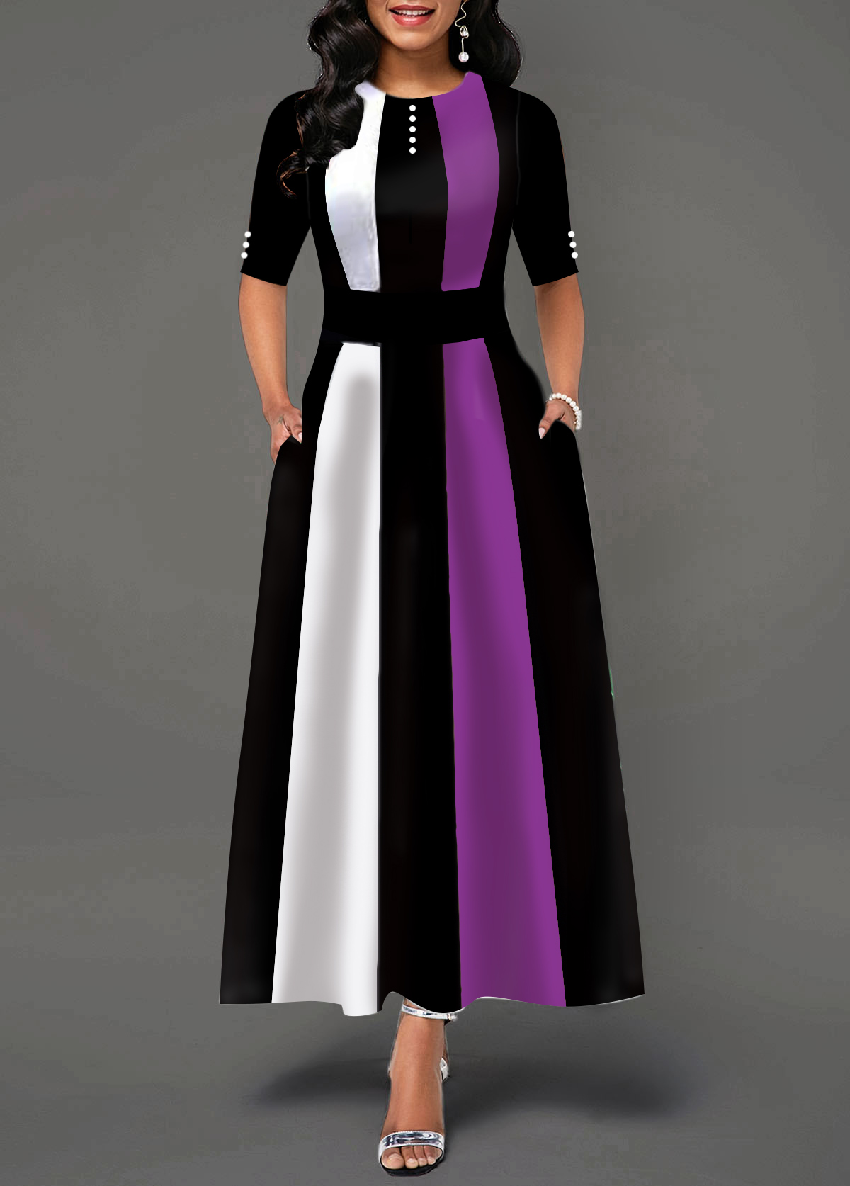 Half Sleeve Button Detail Round Neck Maxi Dress