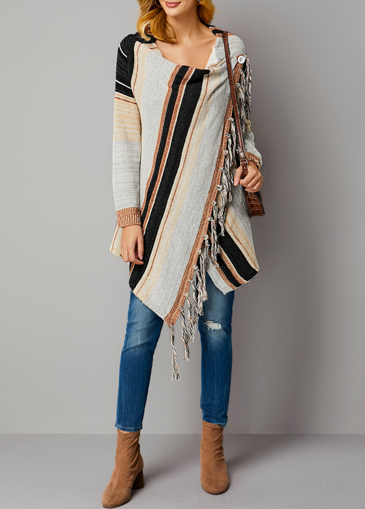 Stripe Pattern One Button Long Sleeve Cardigan