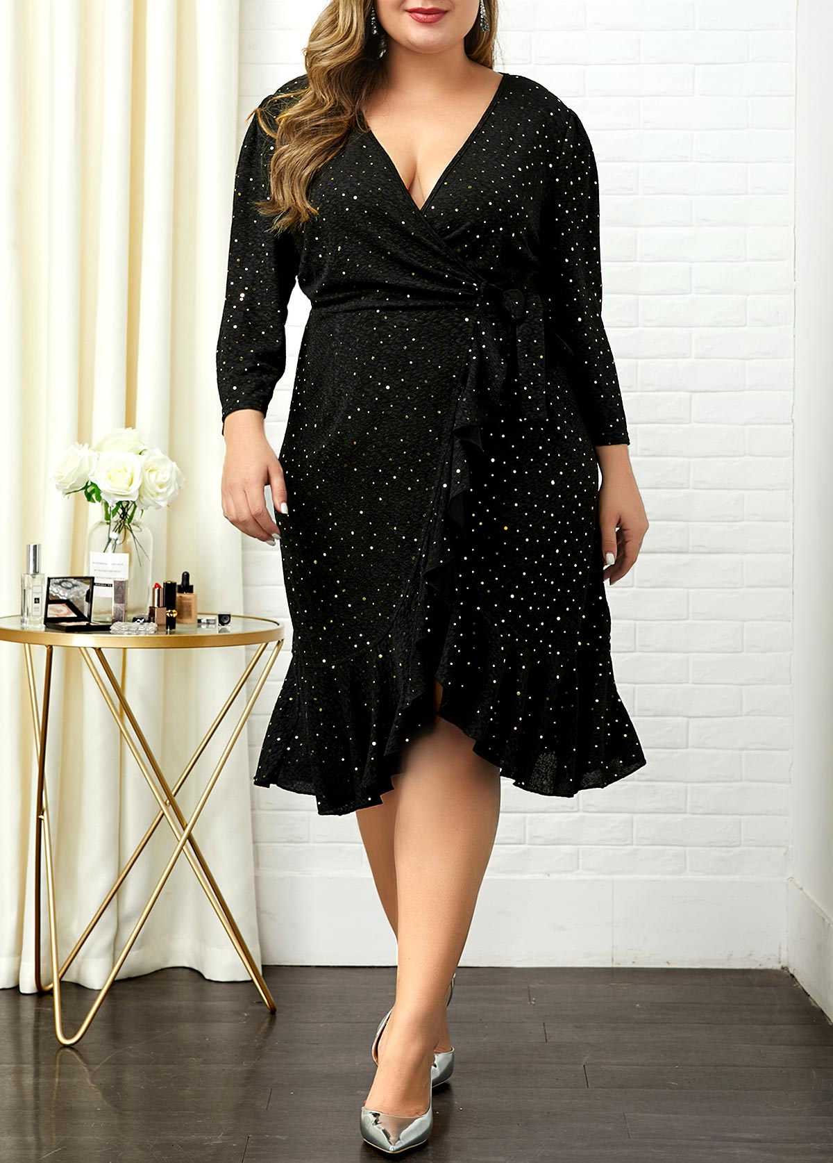 Plus Size V Neck Sequin Embellished Dress