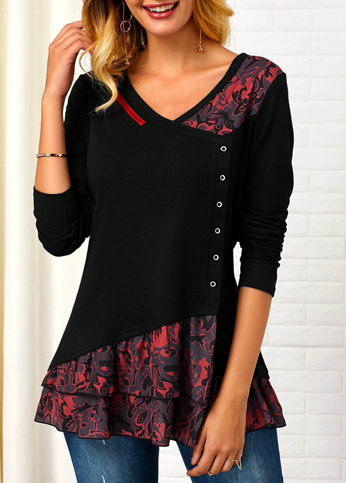 Button Front V Neck Printed T Shirt