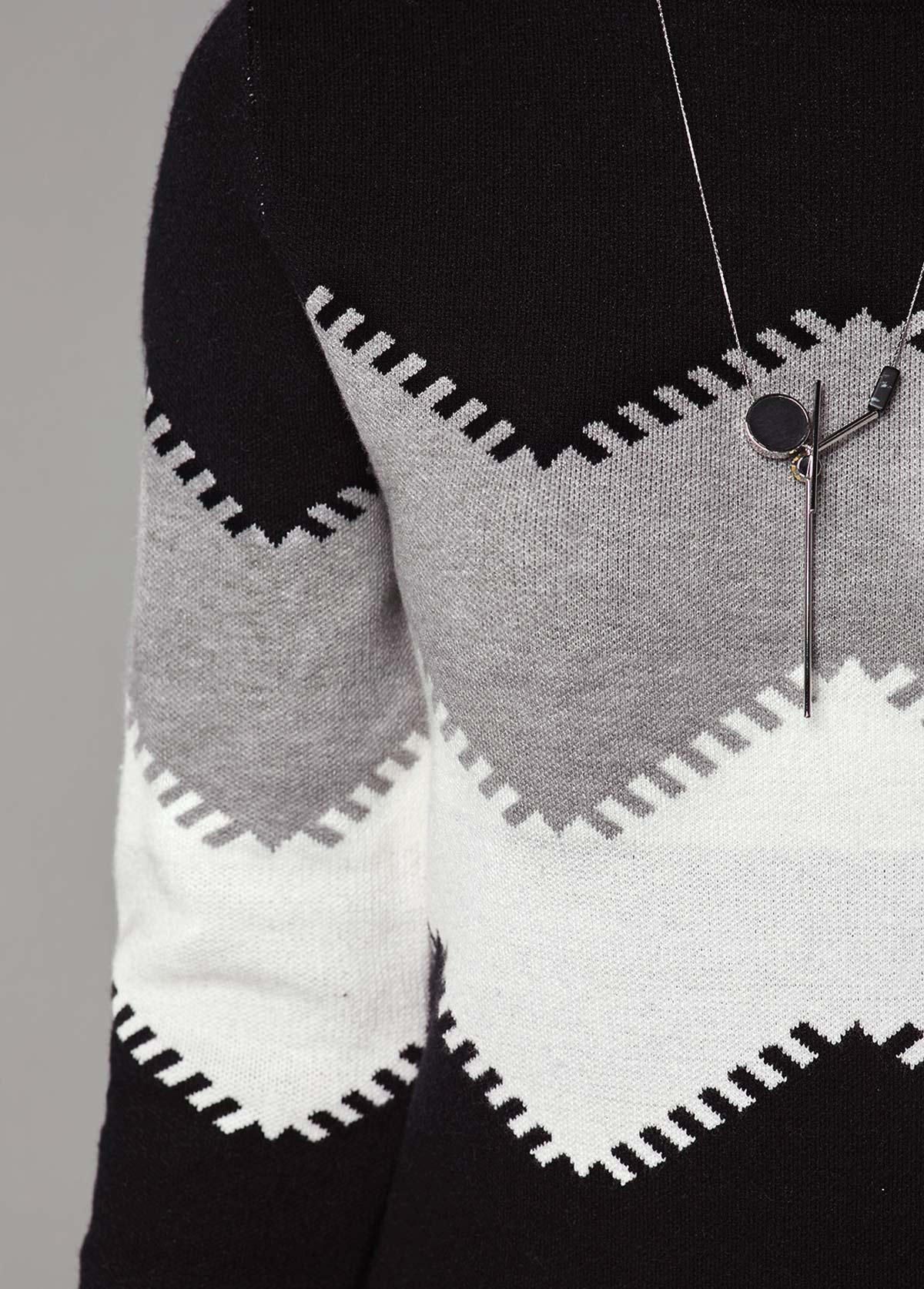Mock Neck Long Sleeve Chevron Pattern Sweater Dress