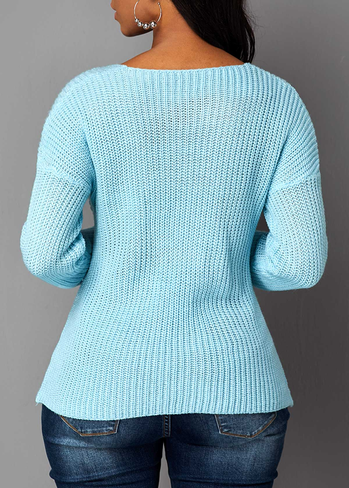 Crossover Hem Cutout Front Long Sleeve Sweater