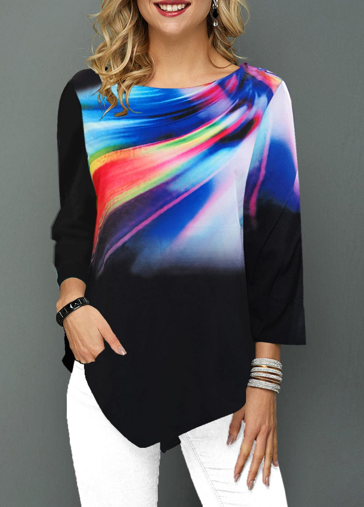 Dazzle Color Printed Asymmetric Hem T Shirt