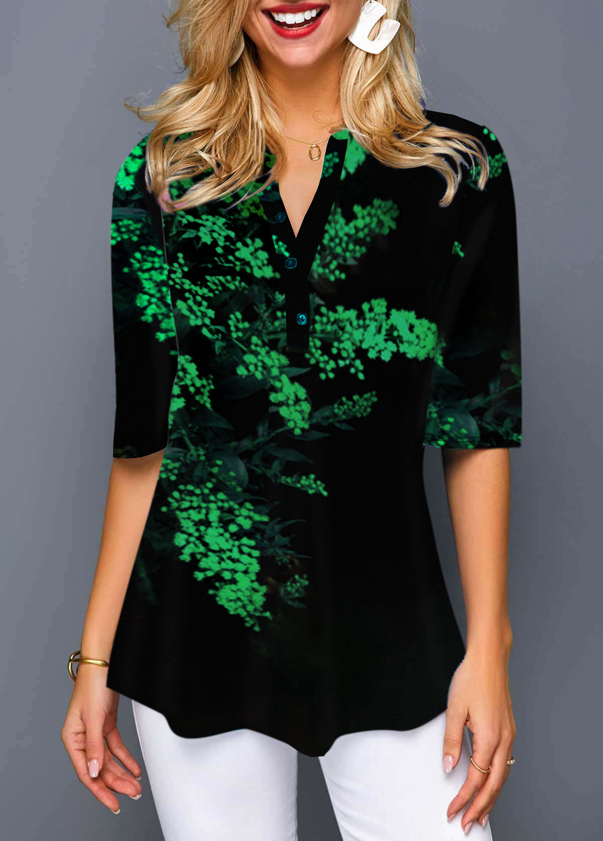 Half Sleeve Ombre Print Split Neck T Shirt