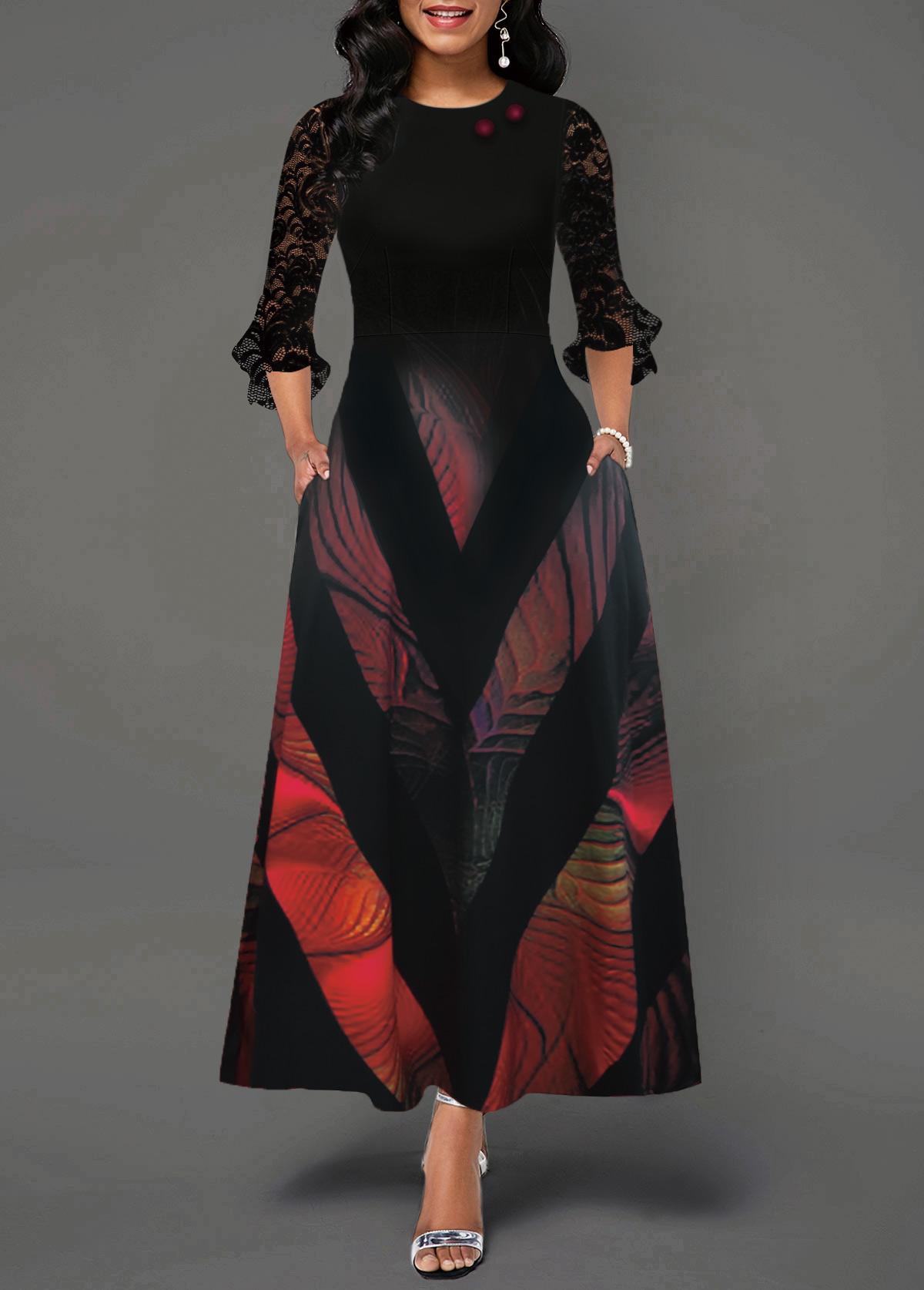 Flare Cuff Lace Panel Geometric Print Maxi Dress