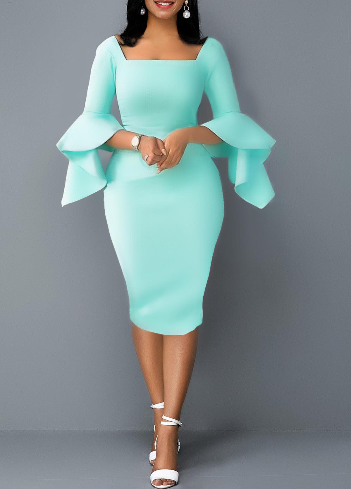 Flare Sleeve Back Zipper Square Collar Dress