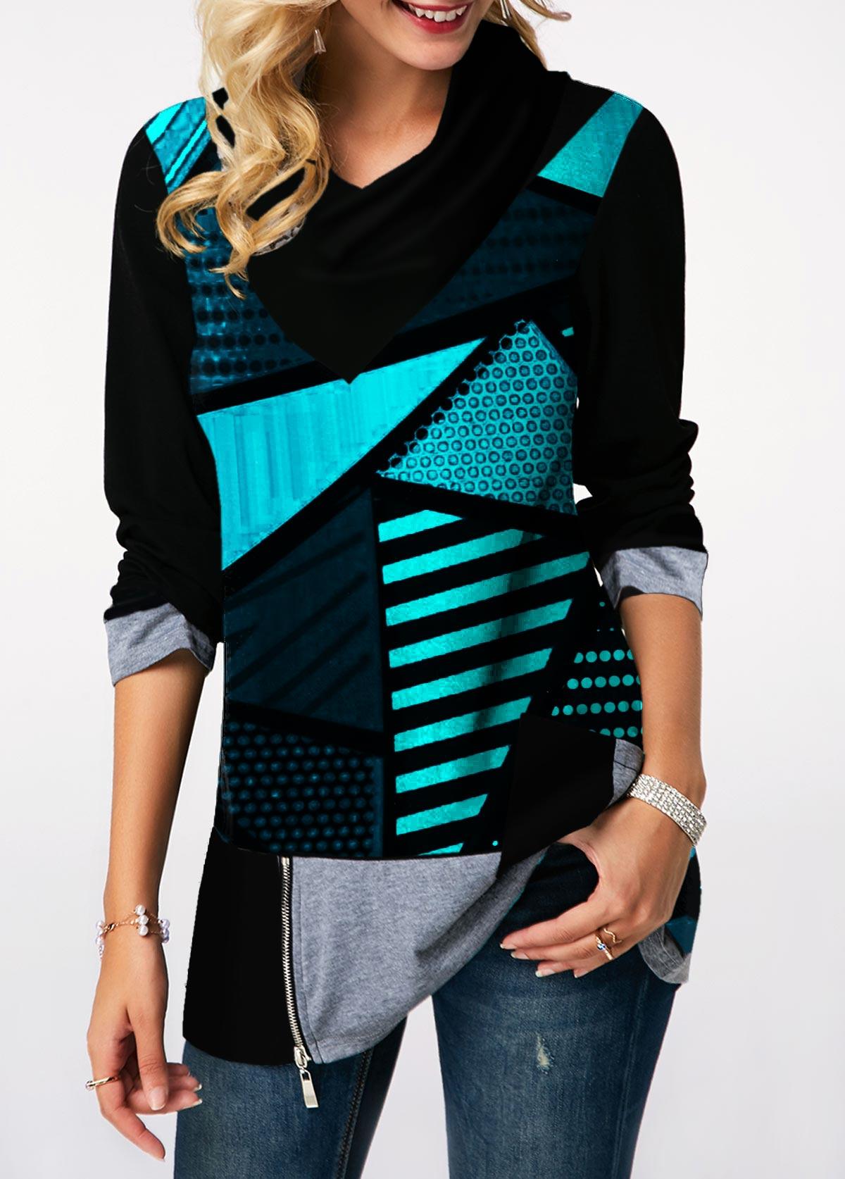 Geometric Print Zipper Detail Long Sleeve Sweatshirt