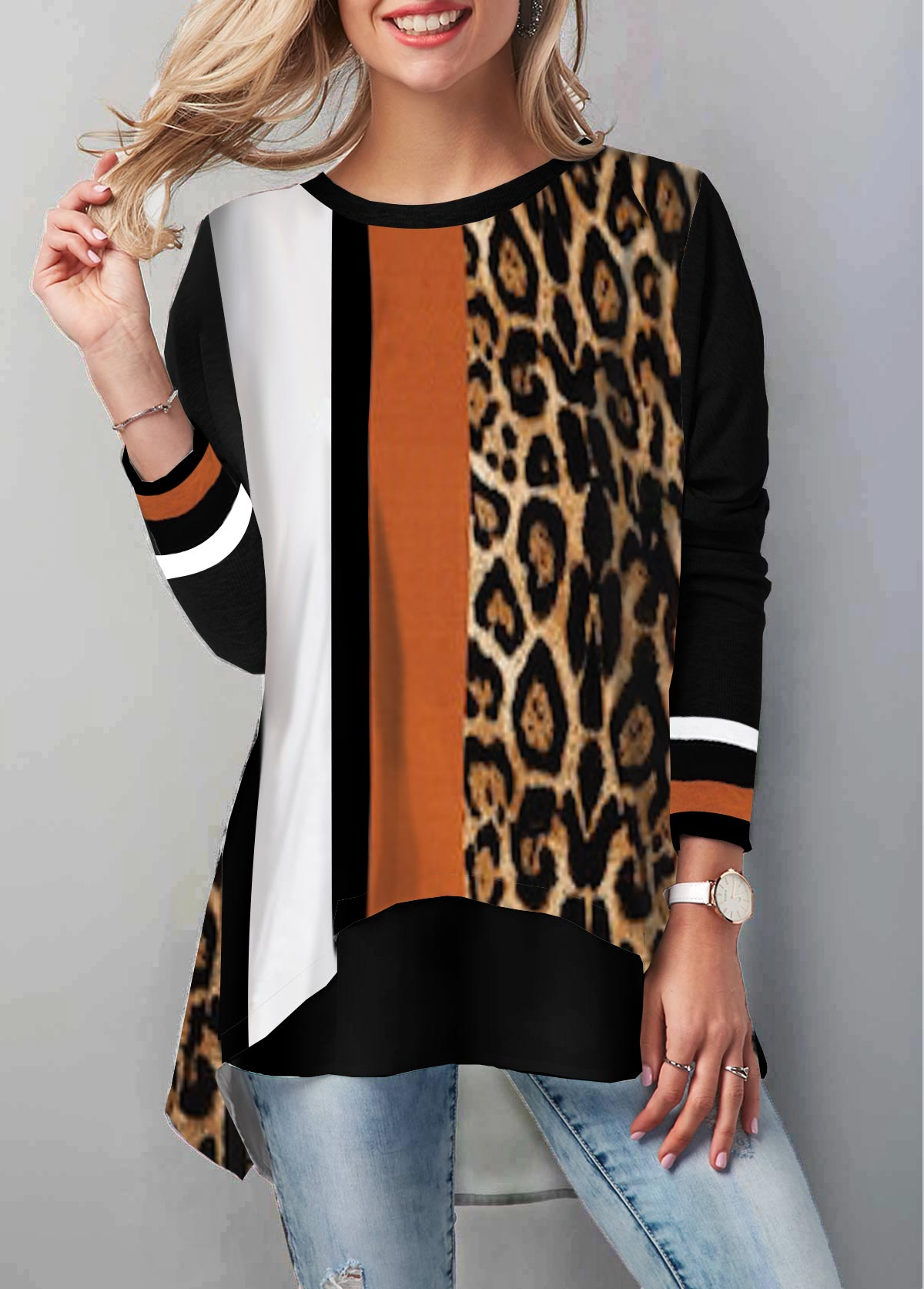 Long Sleeve Leopard Print Round Neck T Shirt