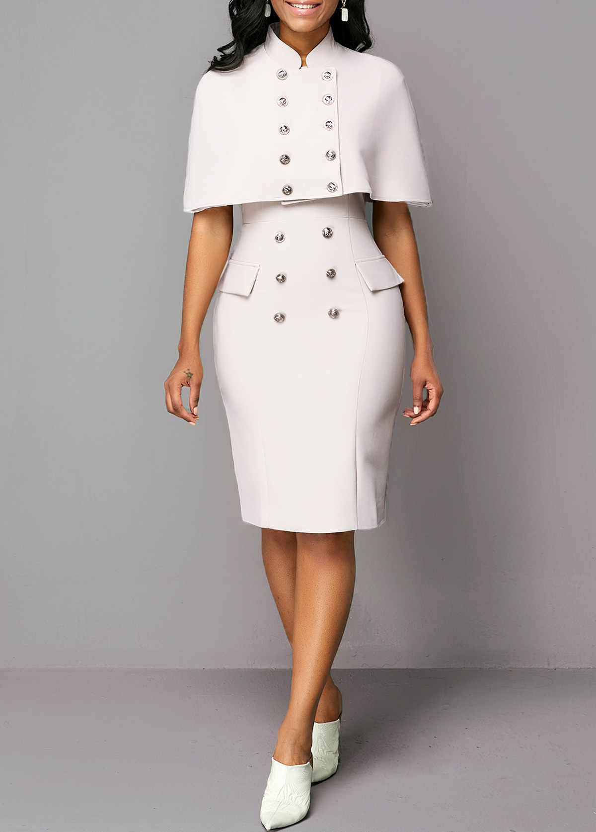 Cape Shoulder Top and Button Detail Sheath Dress