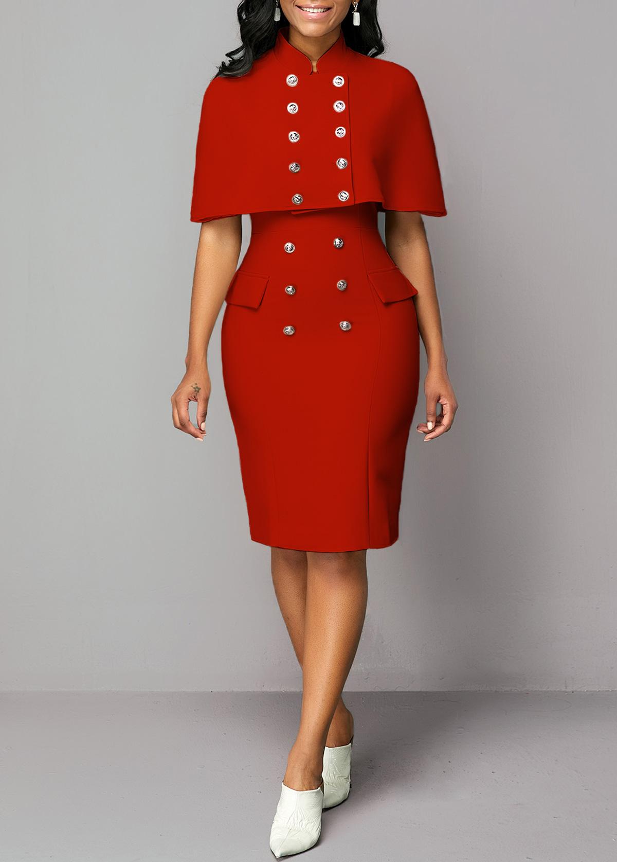 Cape Shoulder Top and Button Detail Sheath Dress