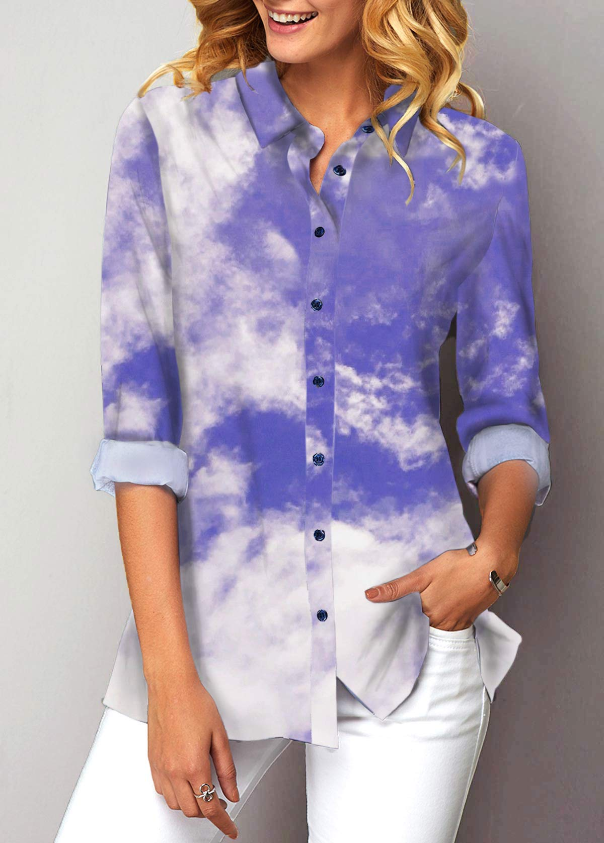 Turndown Collar Cloud Print Button Up Shirt