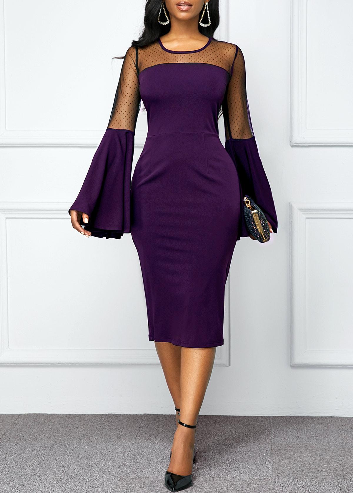 Flare Sleeve Back Zipper Mesh Patchwork Dress