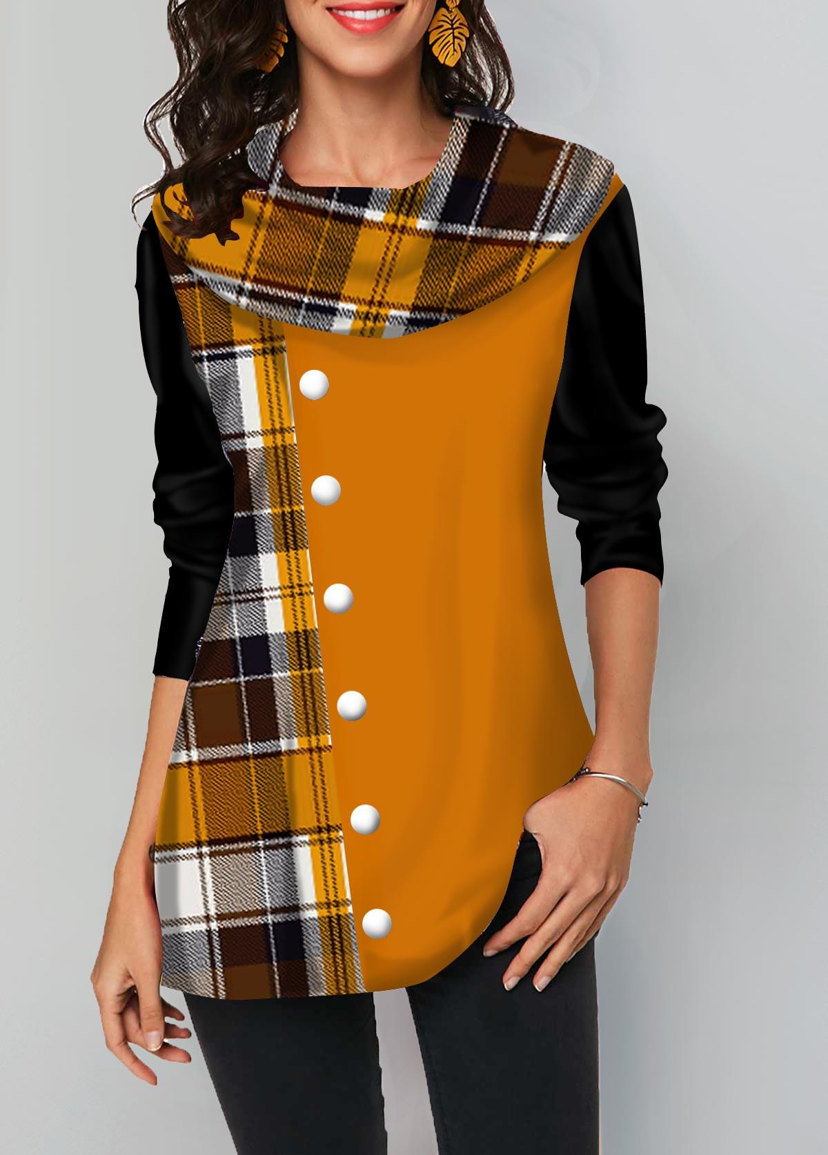 Layered Hem Geometric Print Long Sleeve T Shirt