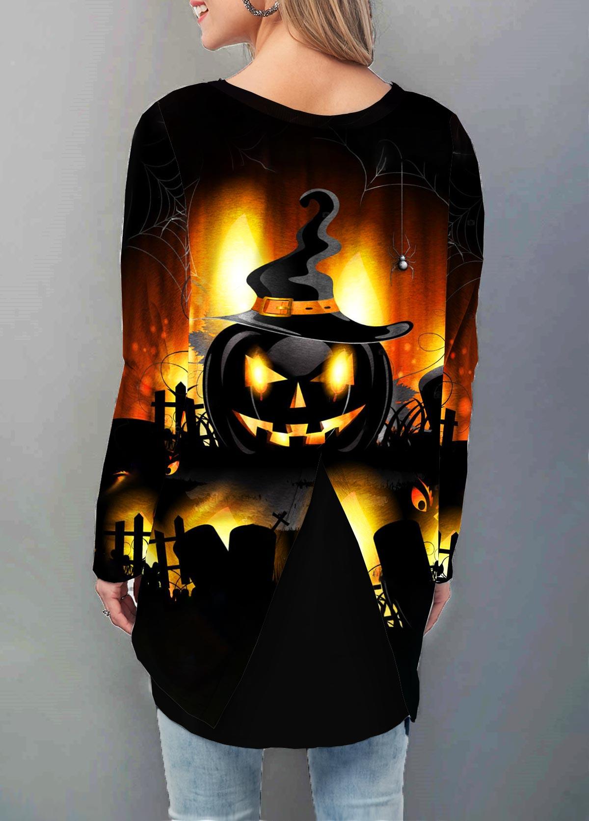 Halloween Pumpkin Print Long Sleeve T Shirt