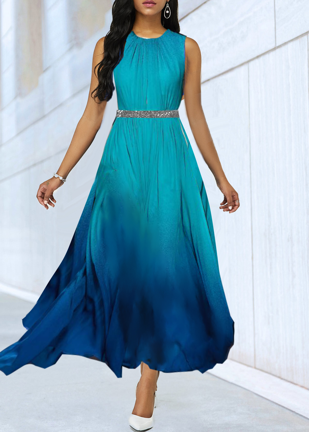 Sleeveless Sequin Panel Blue Gradient High Waist Dress