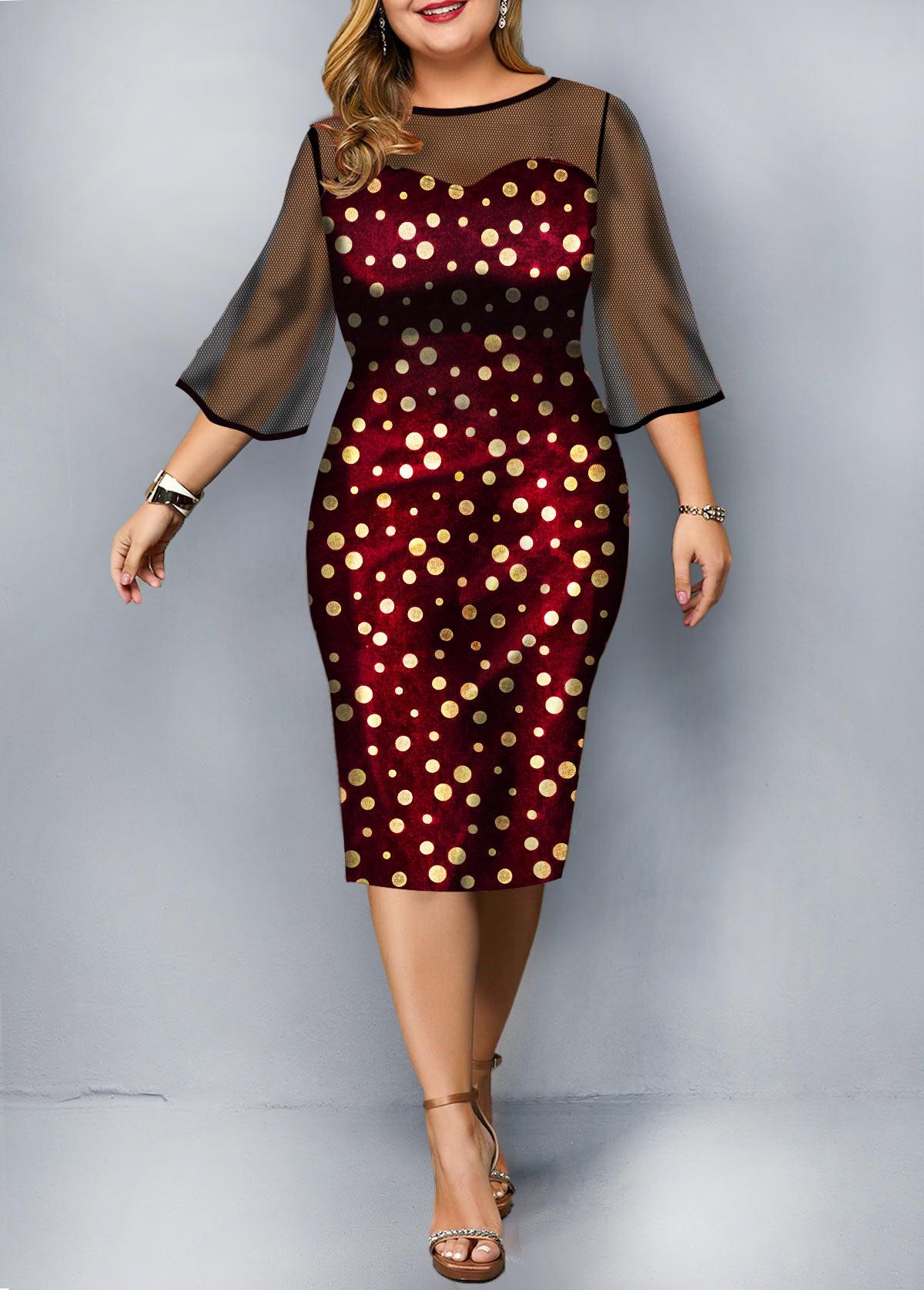 Plus Size Mesh Patchwork Polka Dot Print Dress