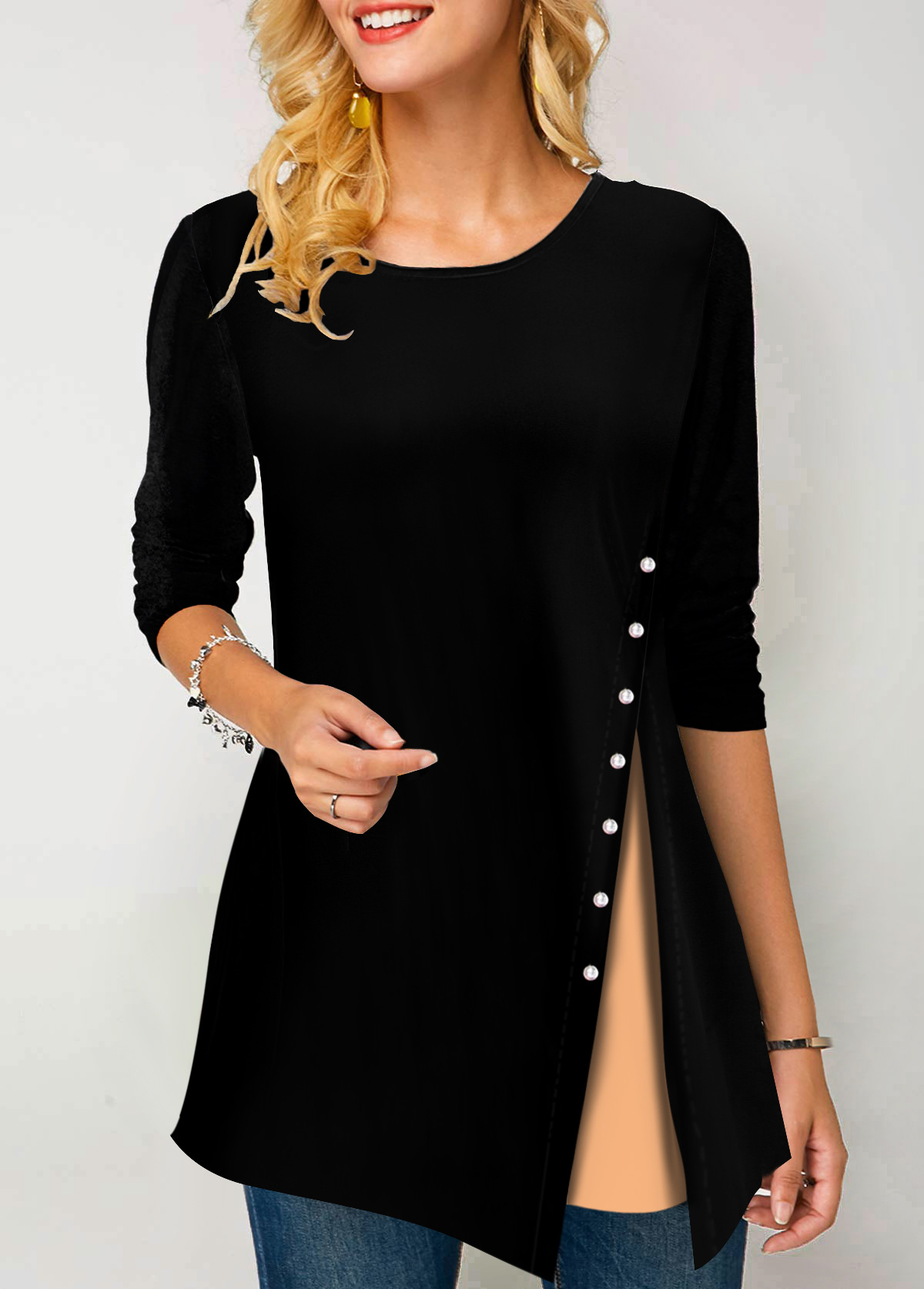 Long Sleeve Round Neck Button Detail T Shirt