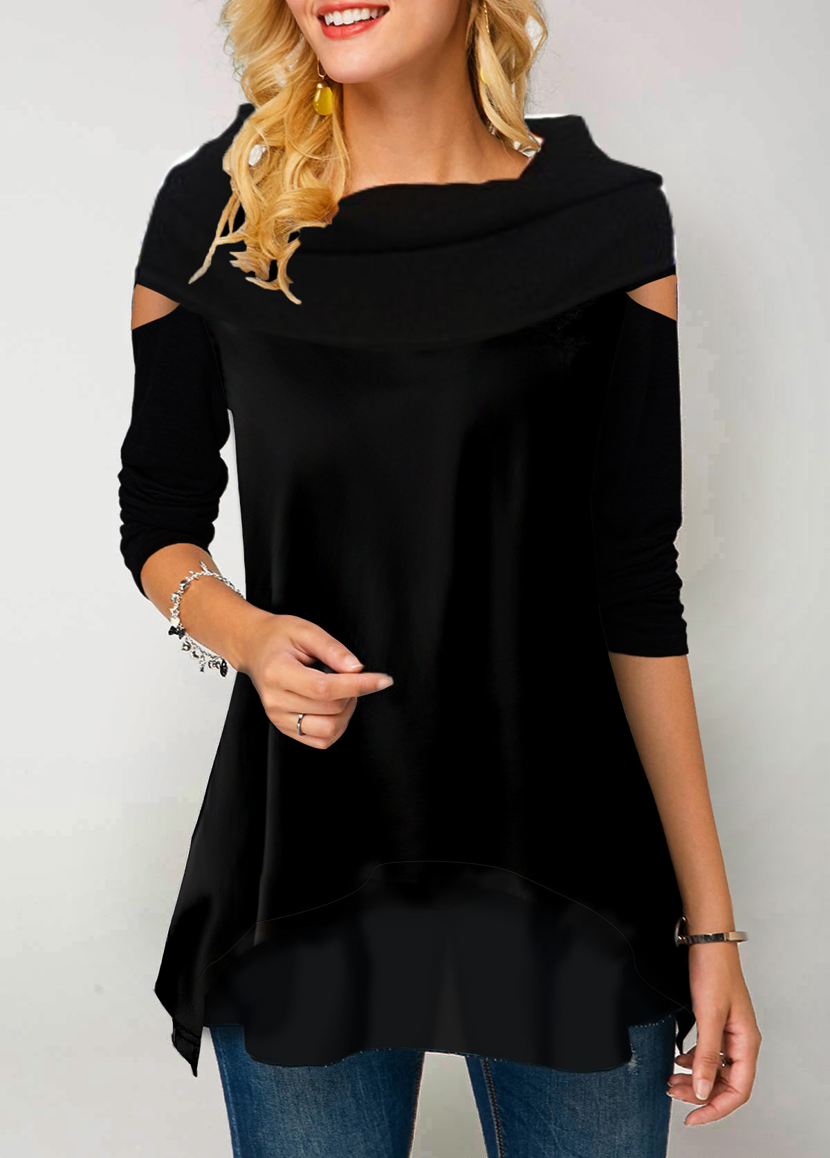 Black Long Sleeve Chiffon Patchwork T Shirt