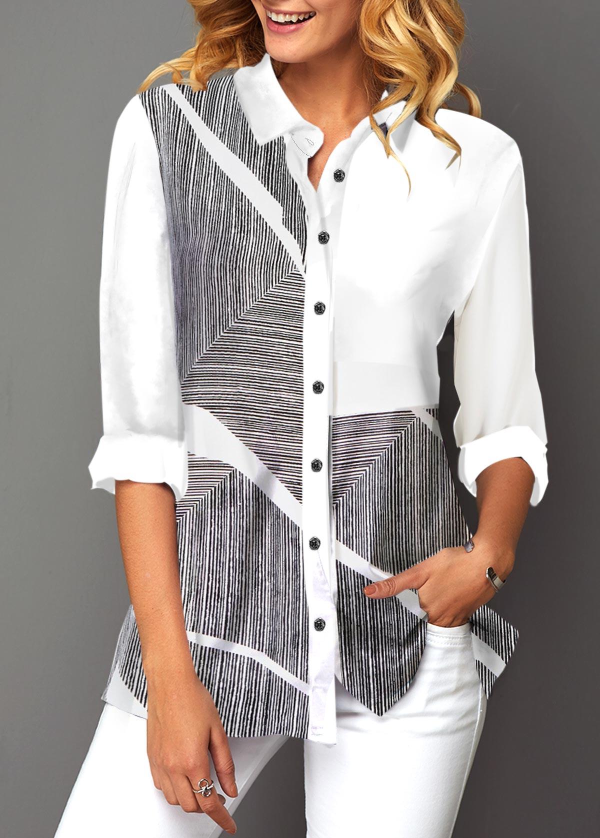 Printed Button Up Turndown Collar Shirt