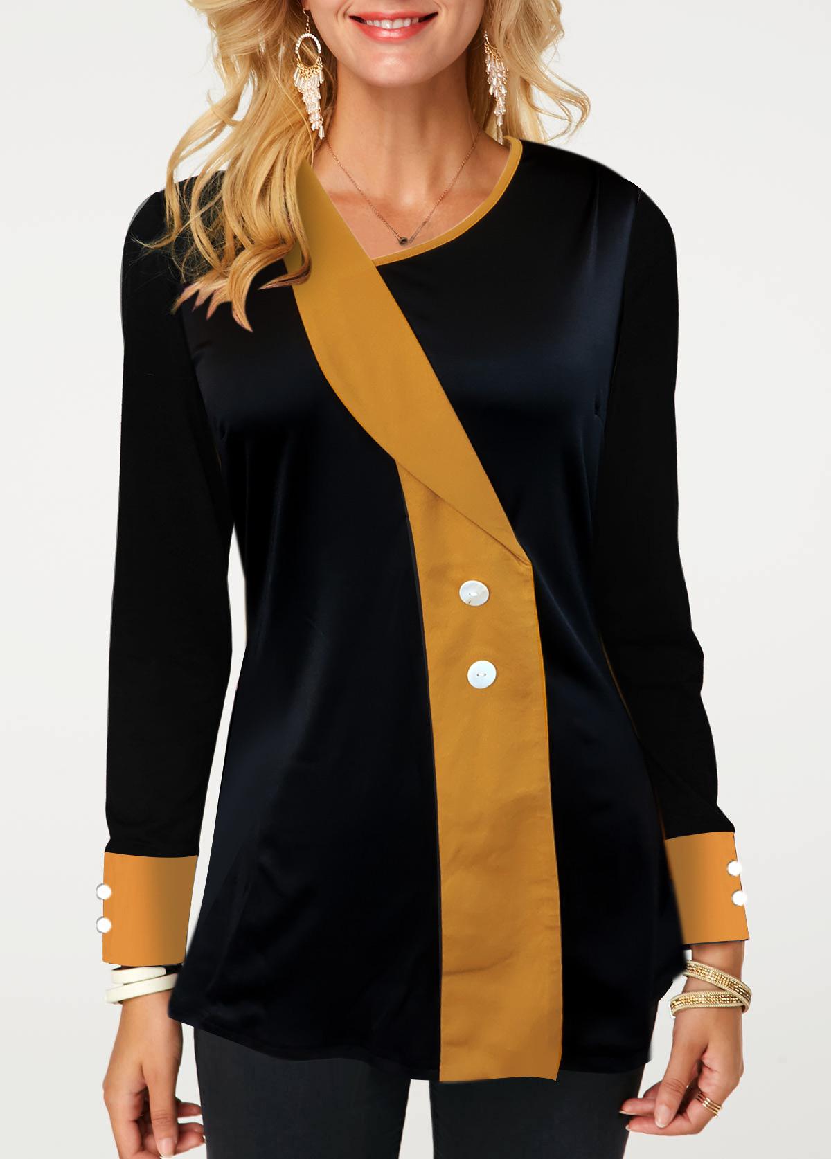 Contrast Panel Asymmetric Neckline Button Detail T Shirt