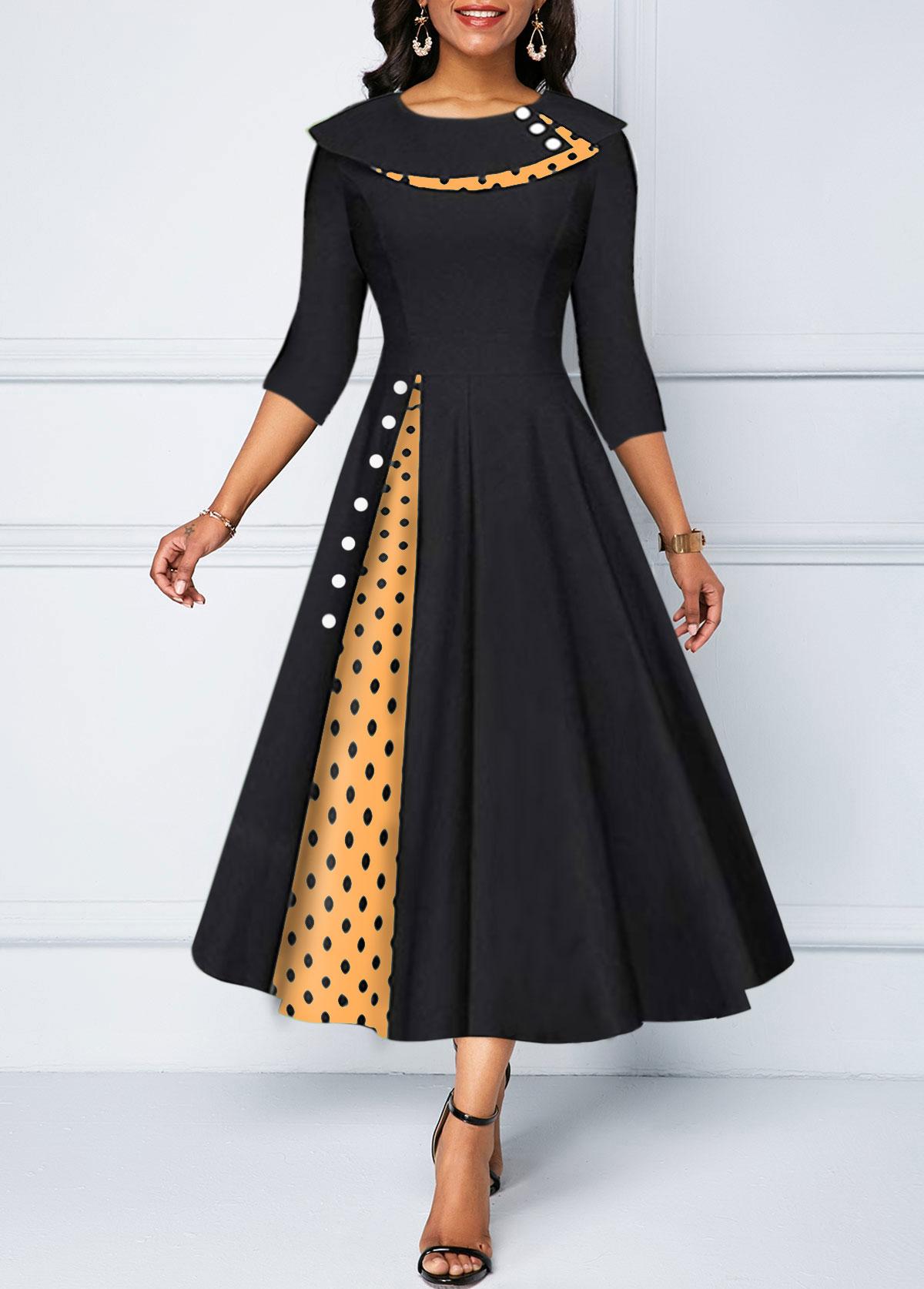 Button Detail Polka Dot Print A Line Dress