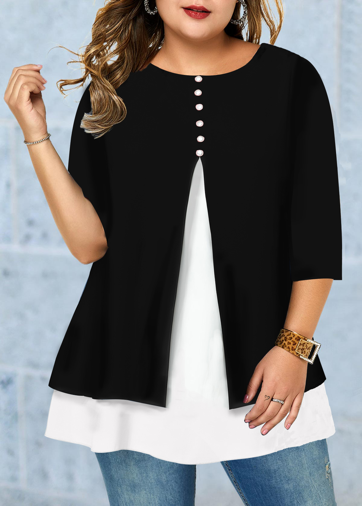 Plus Size Button Detail Front Slit T Shirt