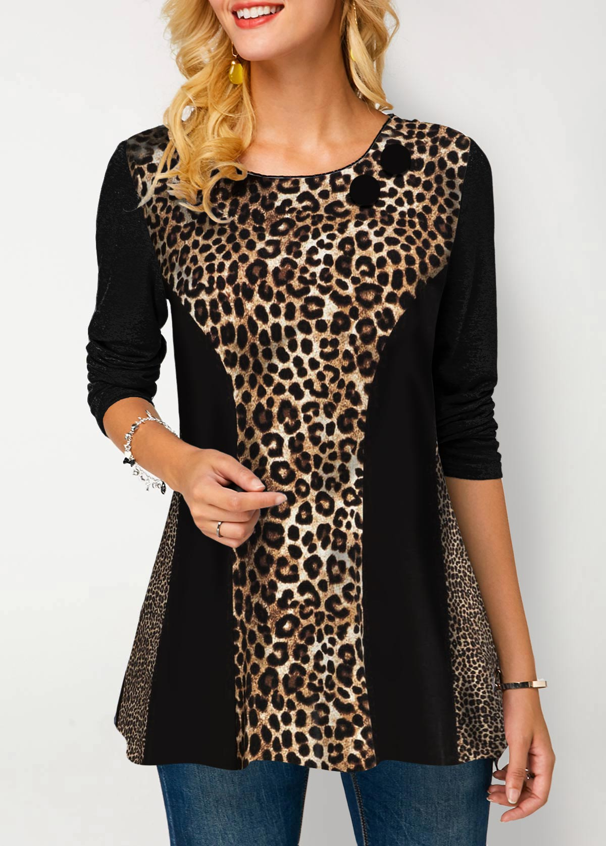 Long Sleeve Round Neck Leopard Print T Shirt