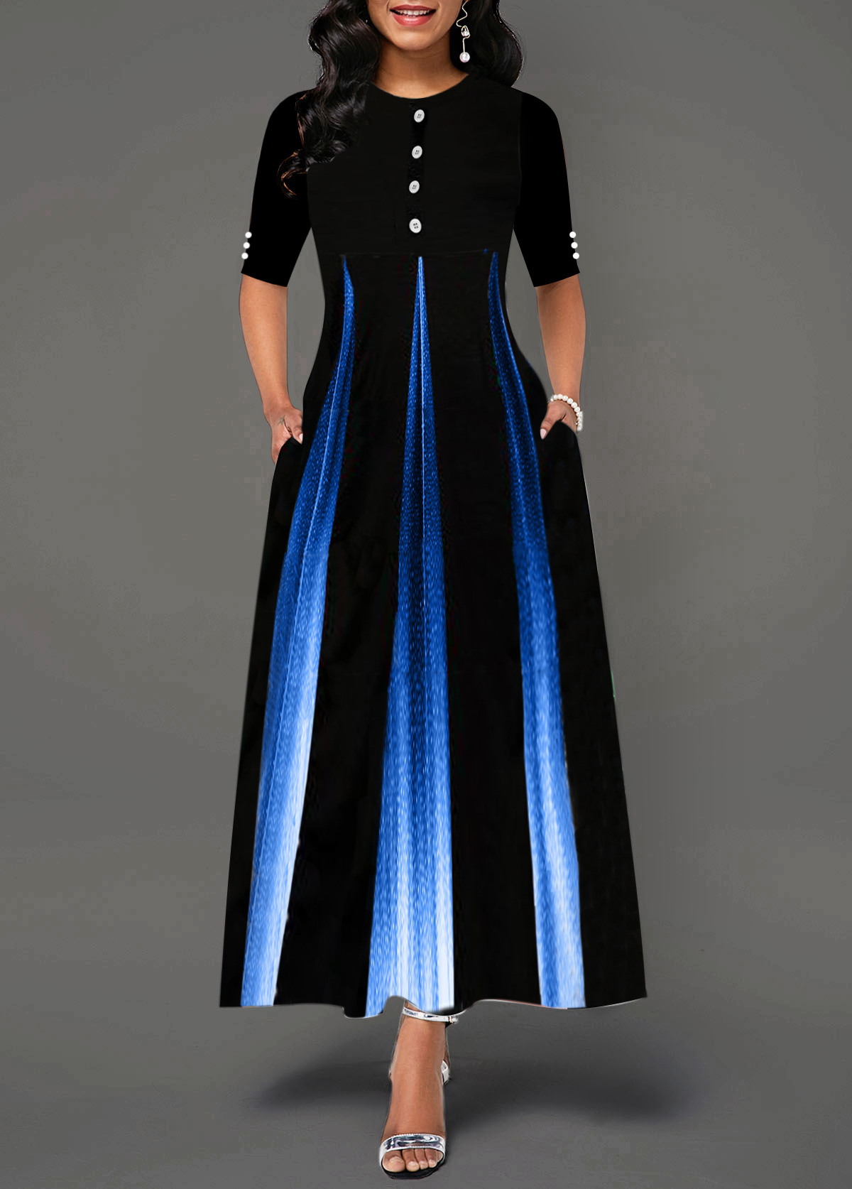 Gradient Half Sleeve Button Detail Maxi Dress