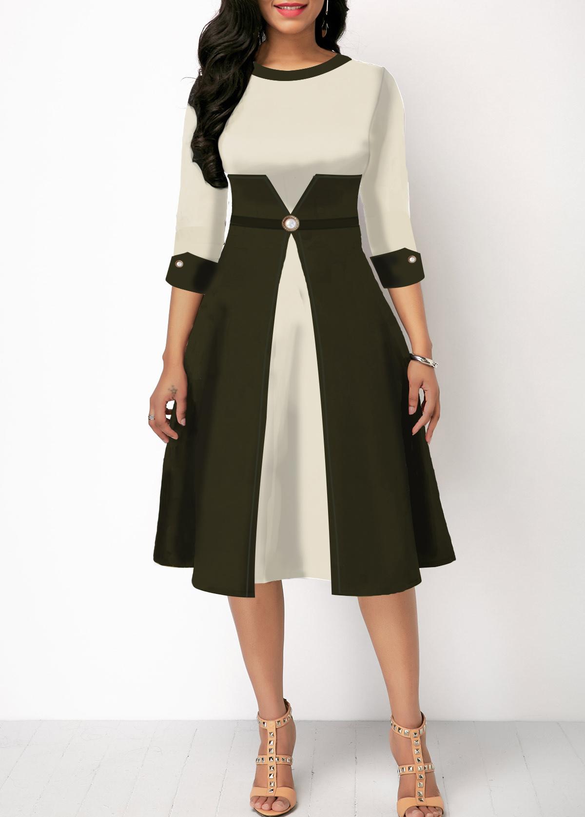 Color Block Three Quarter Sleeve High Waist Dress