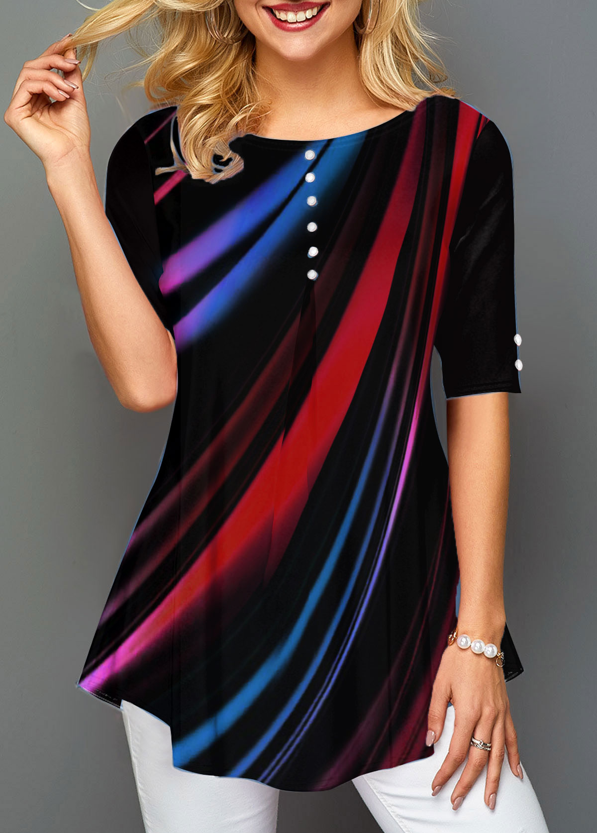 Printed Round Neck Button Front T Shirt