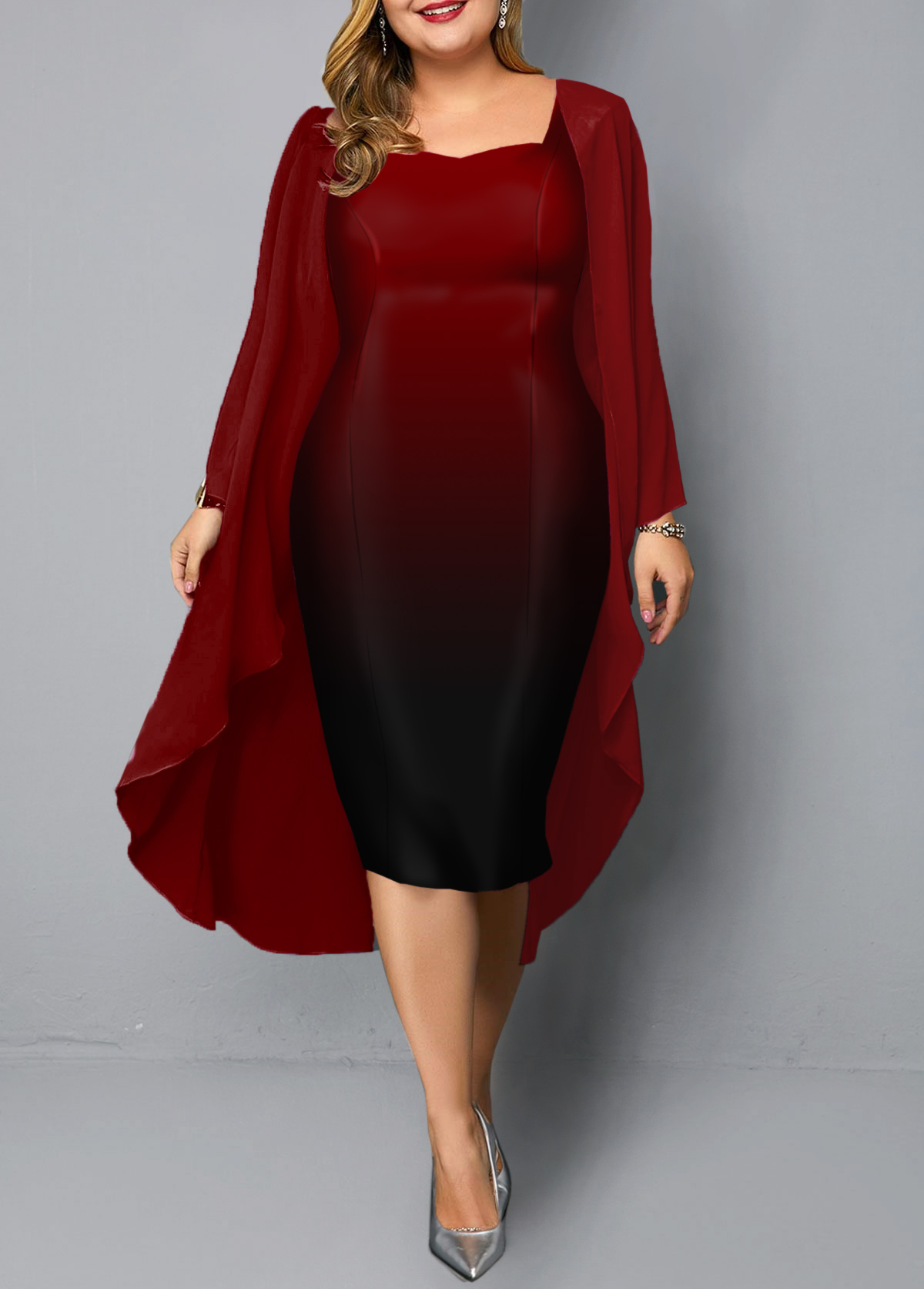 Red Chiffon Cardigan and Gradient Plus Size Dress