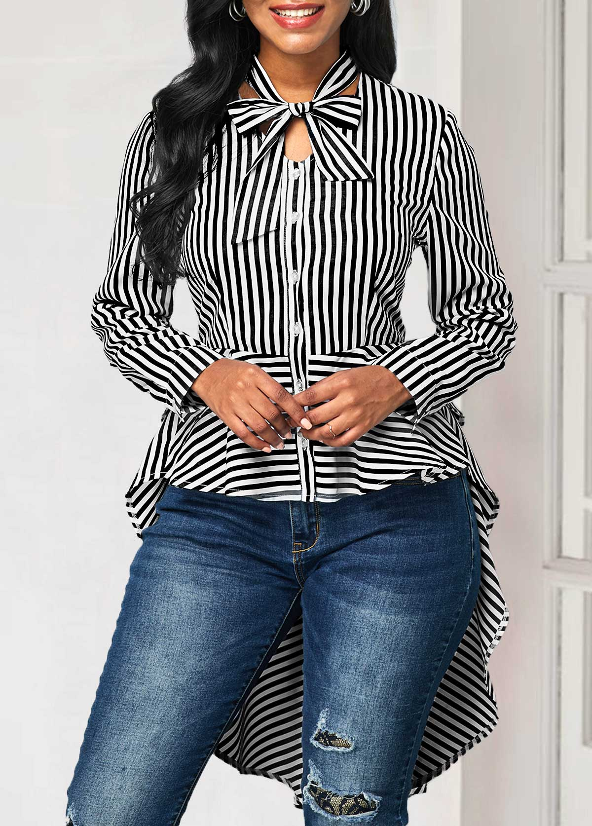Striped Long Sleeve Tie Neck Blouse