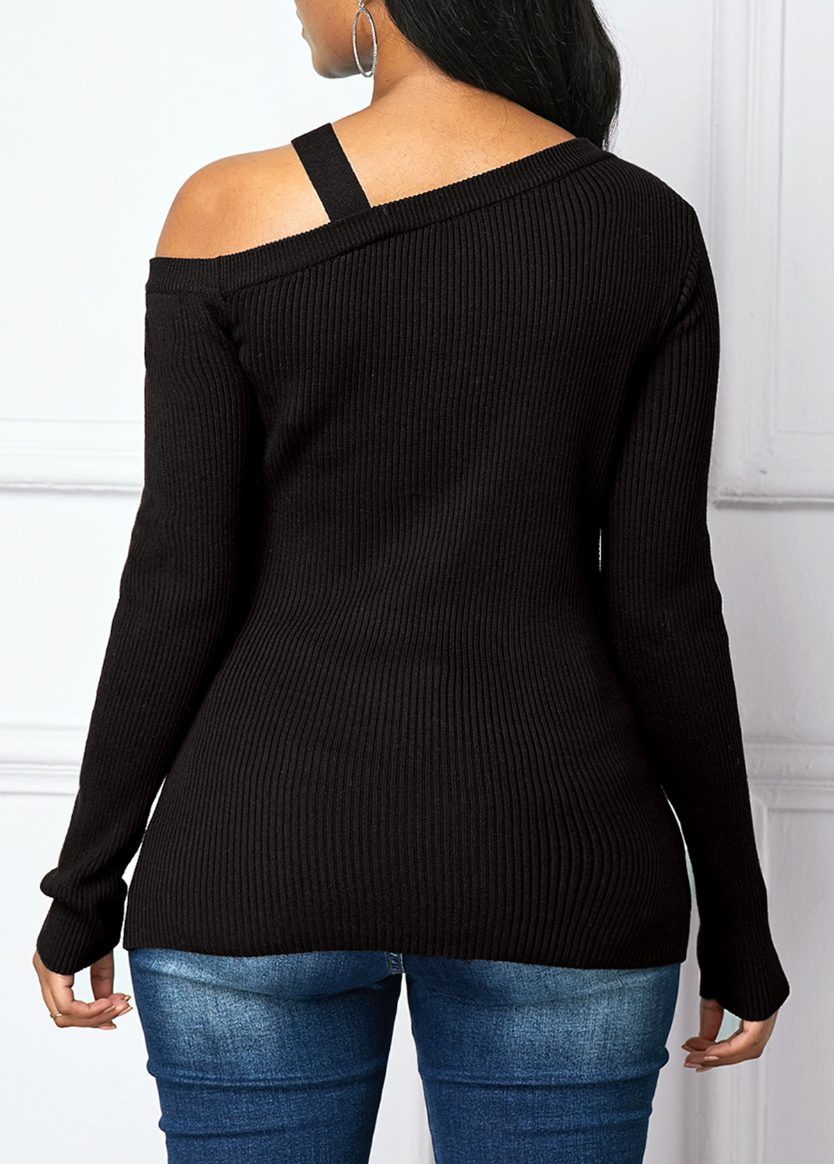 Black Long Sleeve Cold Shoulder Sweater