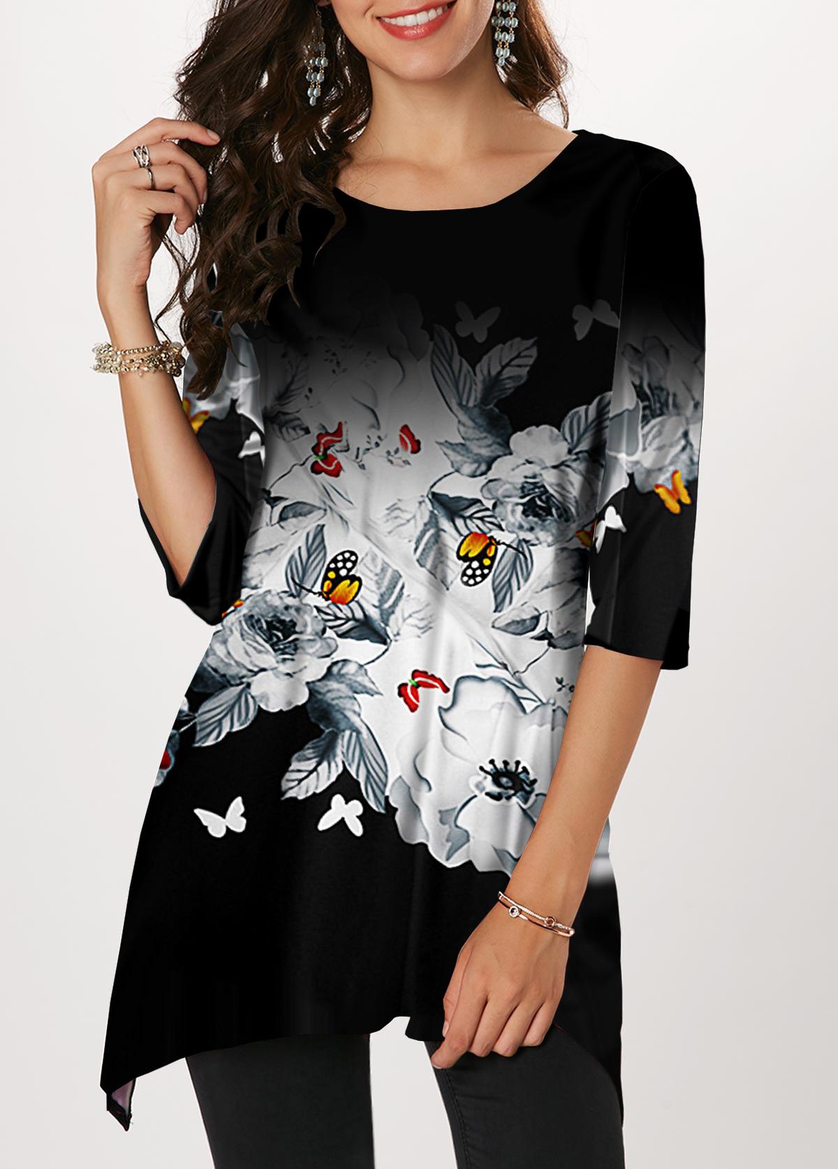Sharkbite Hem Butterfly Print Round Neck T Shirt