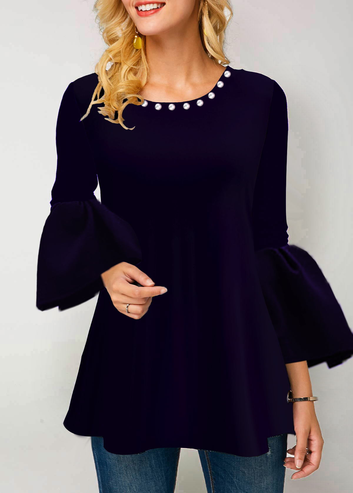 Deep Purple Flare Cuff Embellished Neck T Shirt